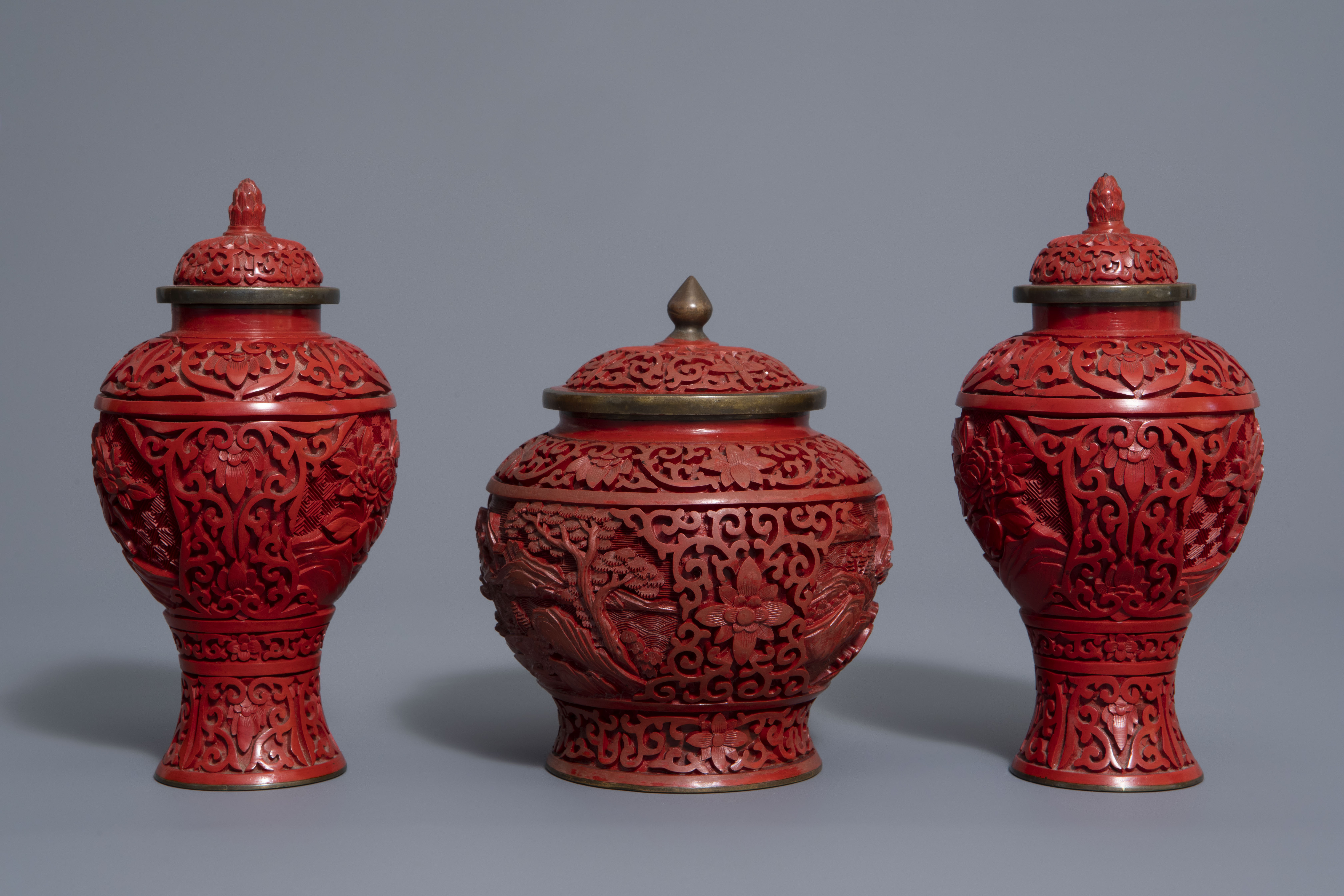 A Chinese tea block, cloisonné teapot, wall vase, bamboo brush pot & 3 red lacquer vases, 20th C. - Image 3 of 16