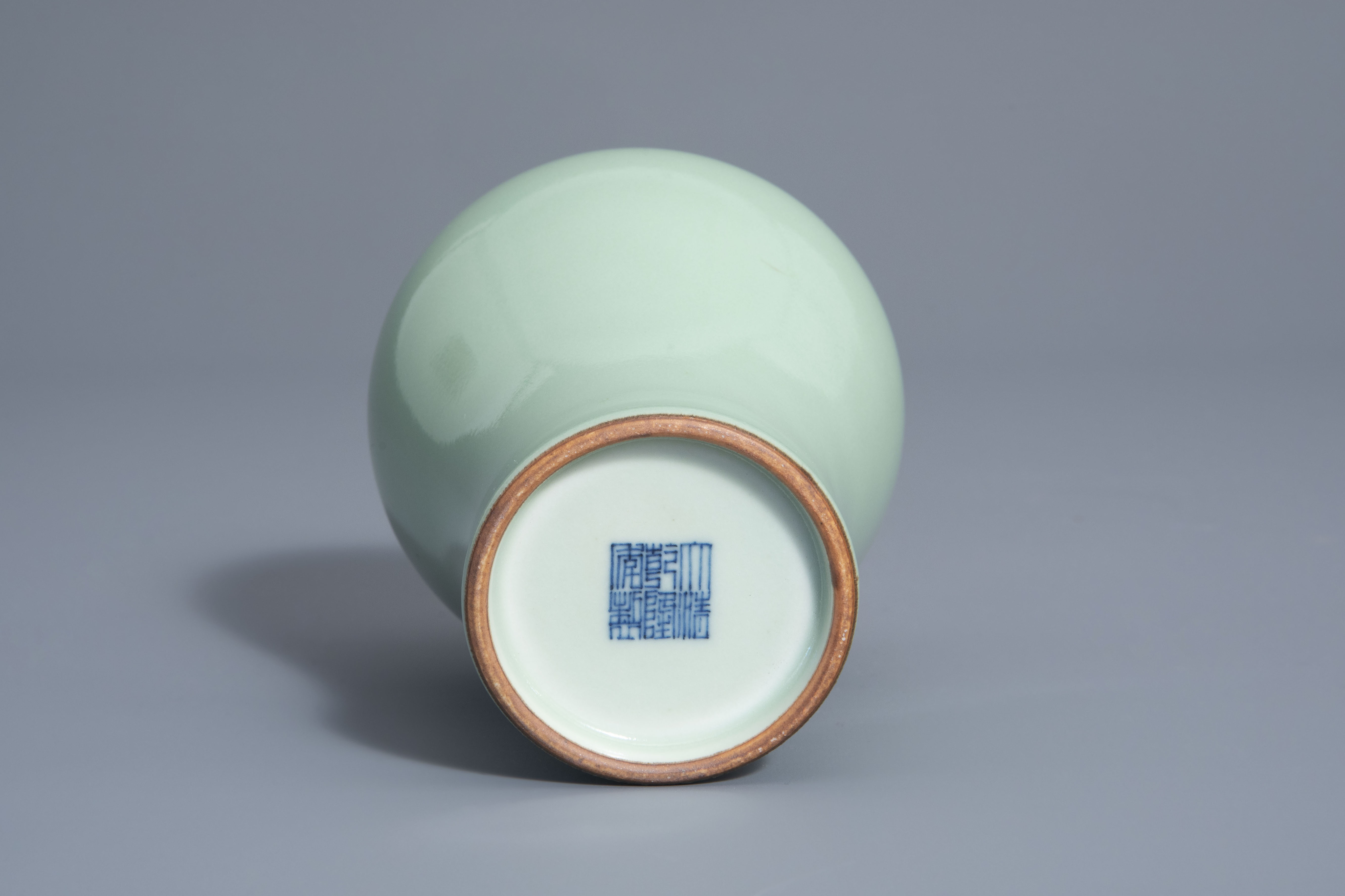 A Chinese monochrome celadon meiping vase, Qianlong mark, 19th/20th C. - Image 6 of 6