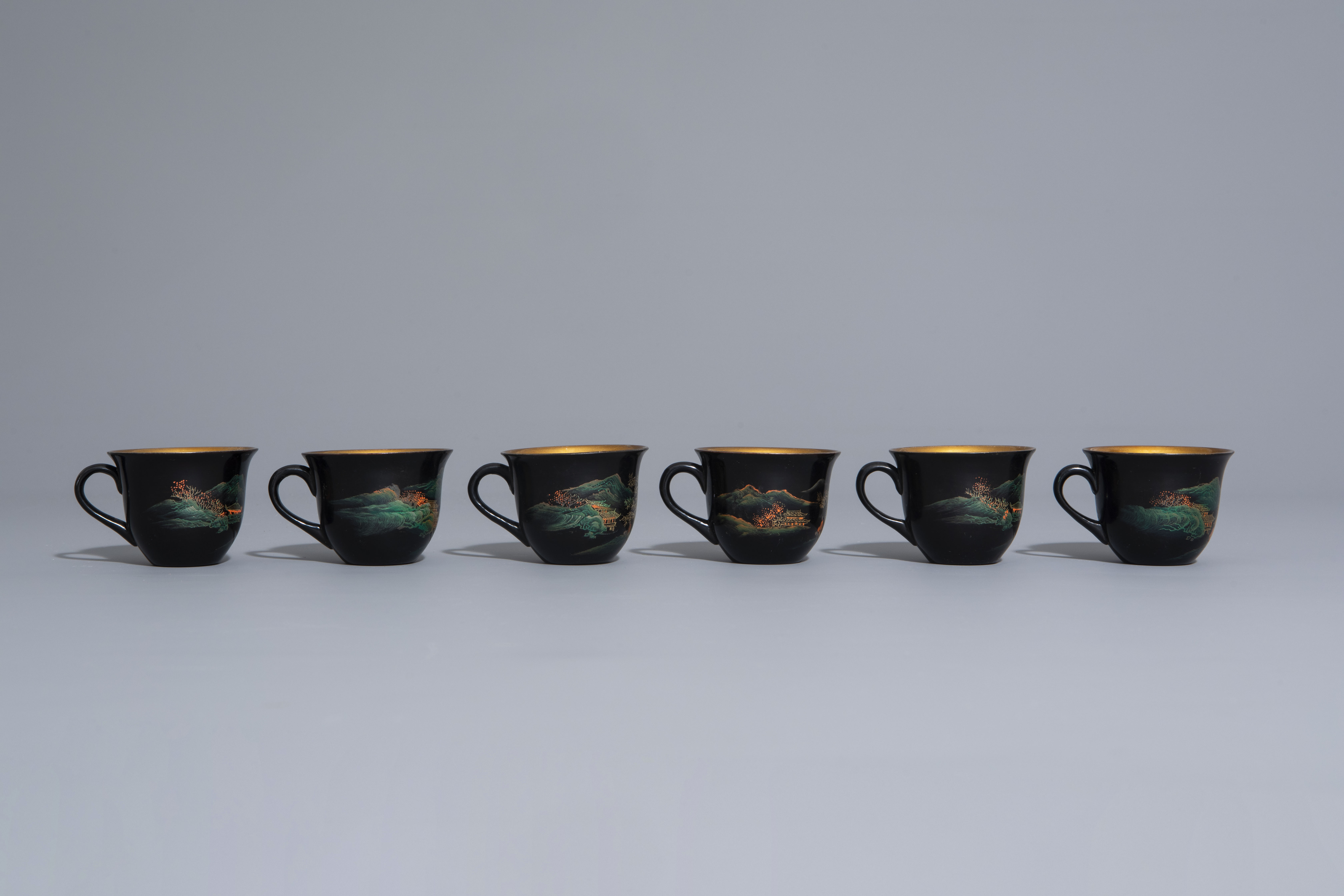 An extensive Chinese Foochow lacquer Shen Shao'an style coffee and tea service, 20th C. - Image 16 of 23