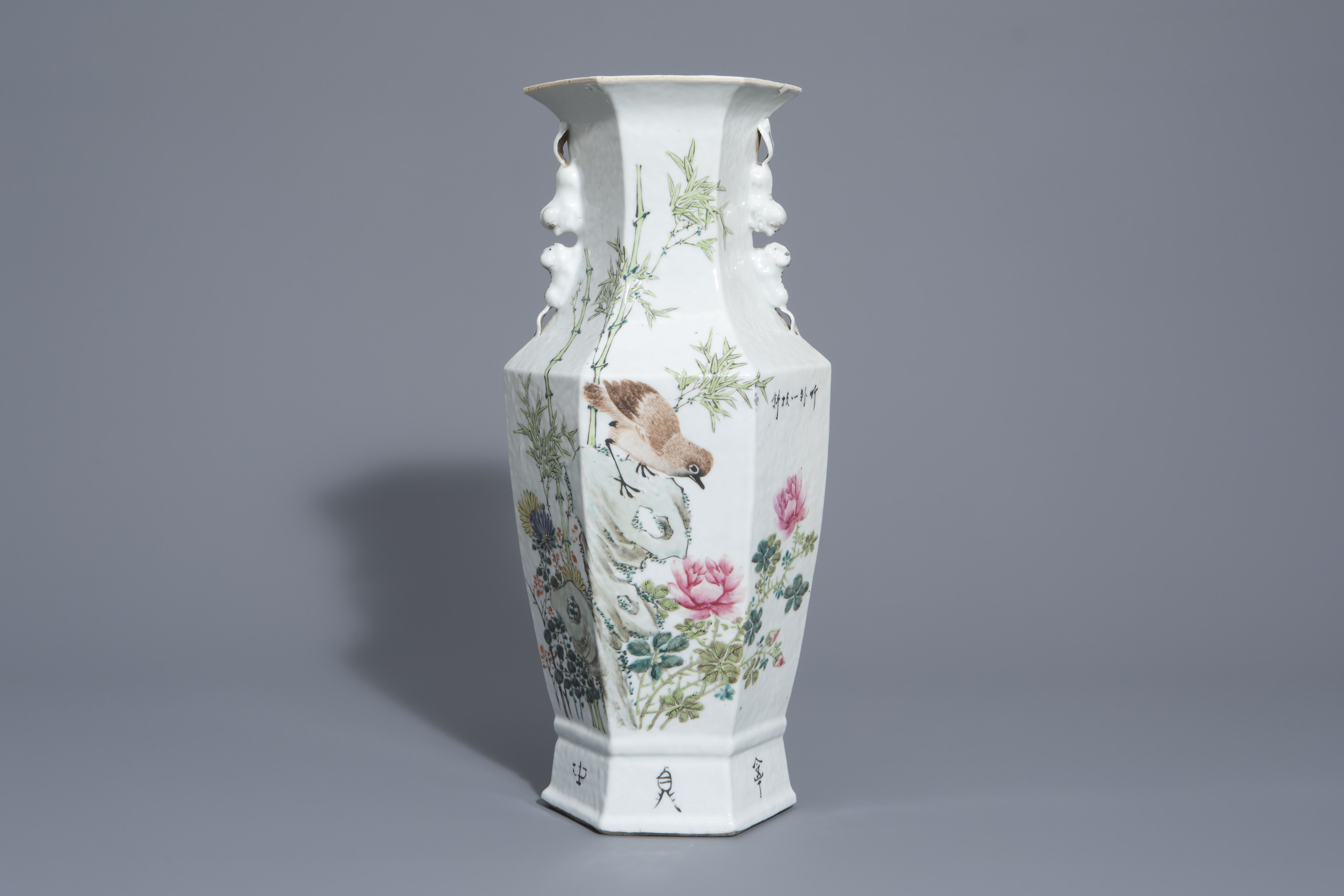 A hexagonal Chinese qianjiang cai vase with a bird among blossoming branches, 19th/20th C.