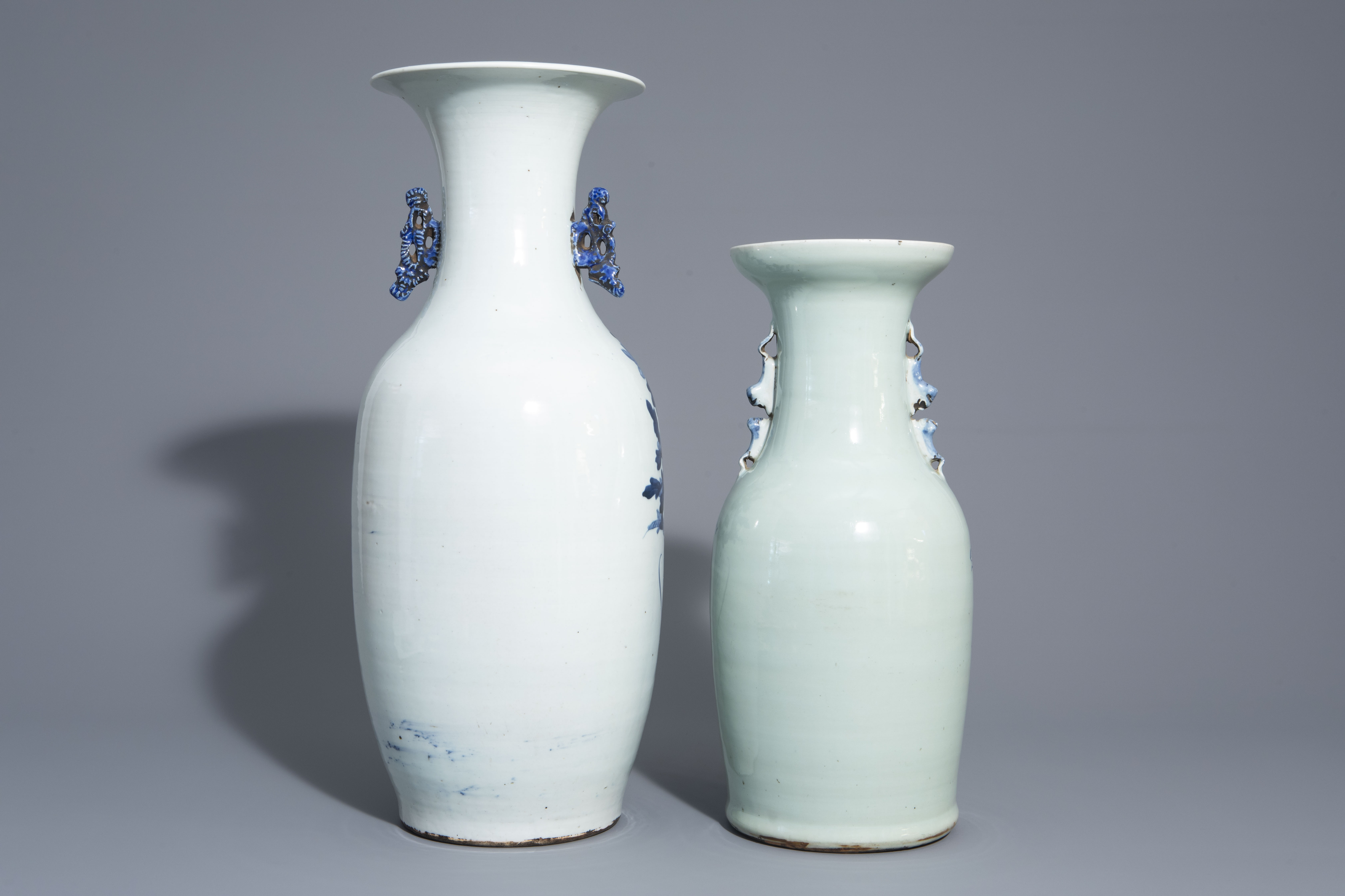 Two Chinese blue and white vases with mythological animals, 19th C. - Image 4 of 7
