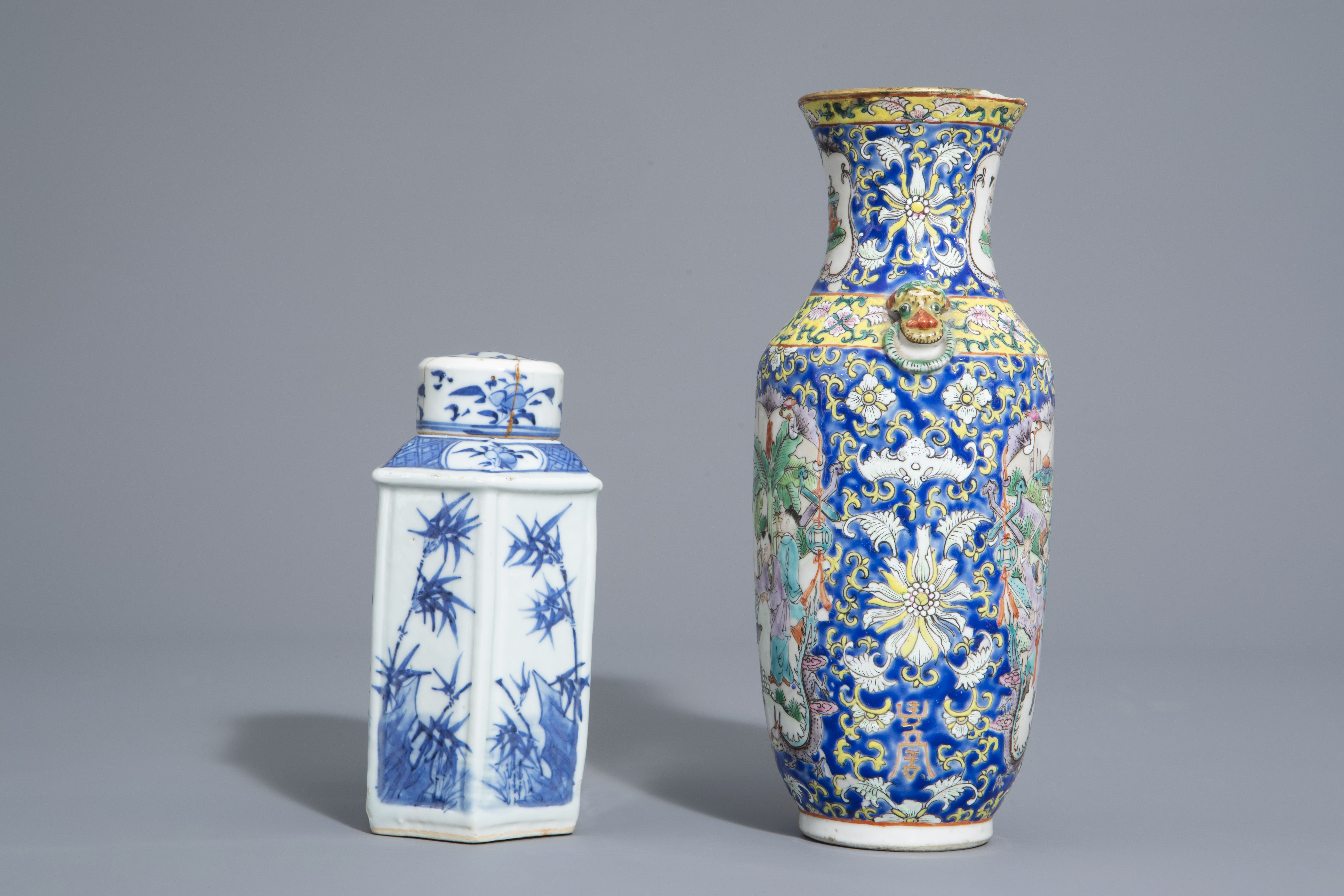A varied collection of Chinese blue and white and famille rose porcelain, 19th/20th C. - Image 3 of 15
