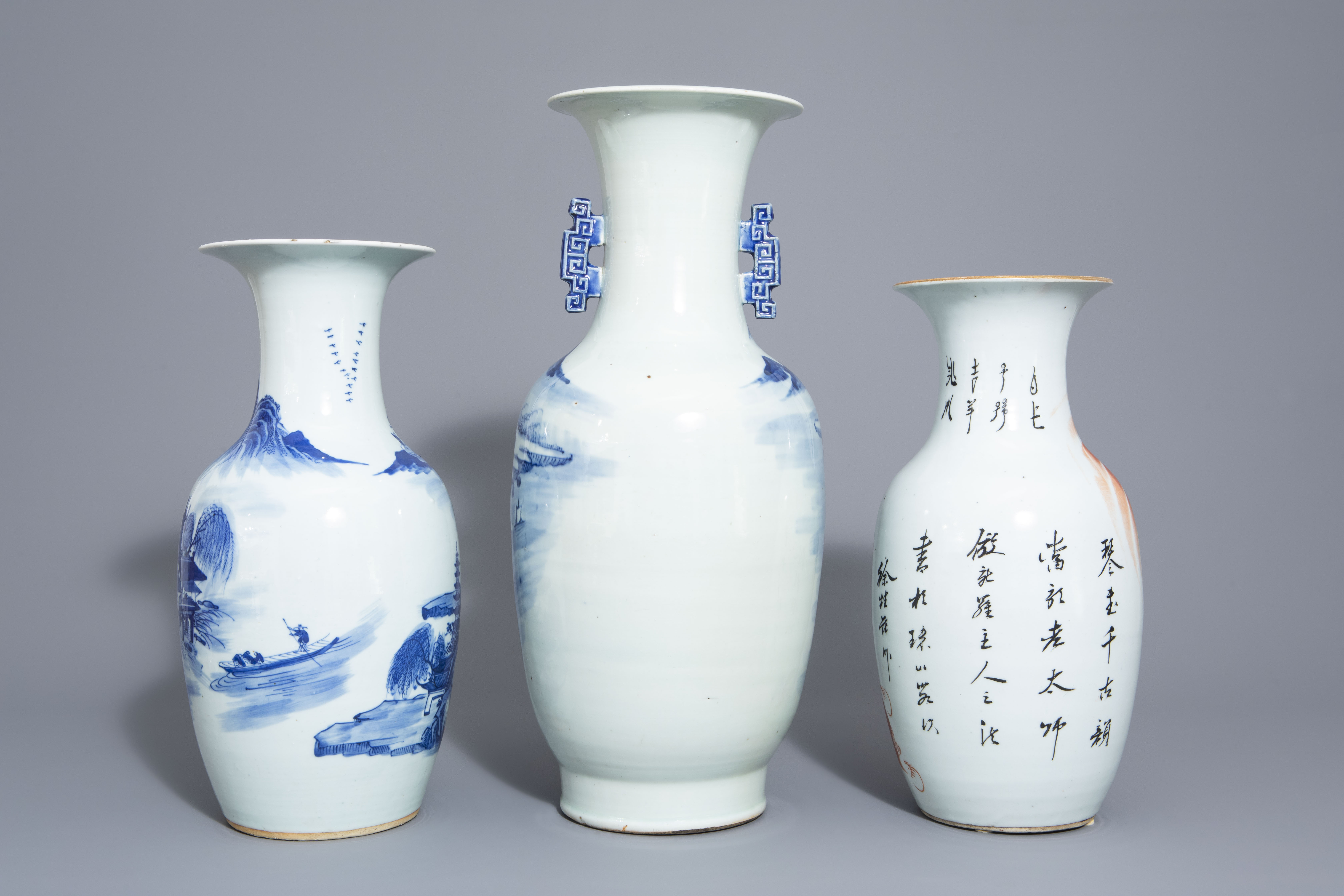 Three Chinese blue and white and iron red vases, 19th/20th C. - Image 3 of 6