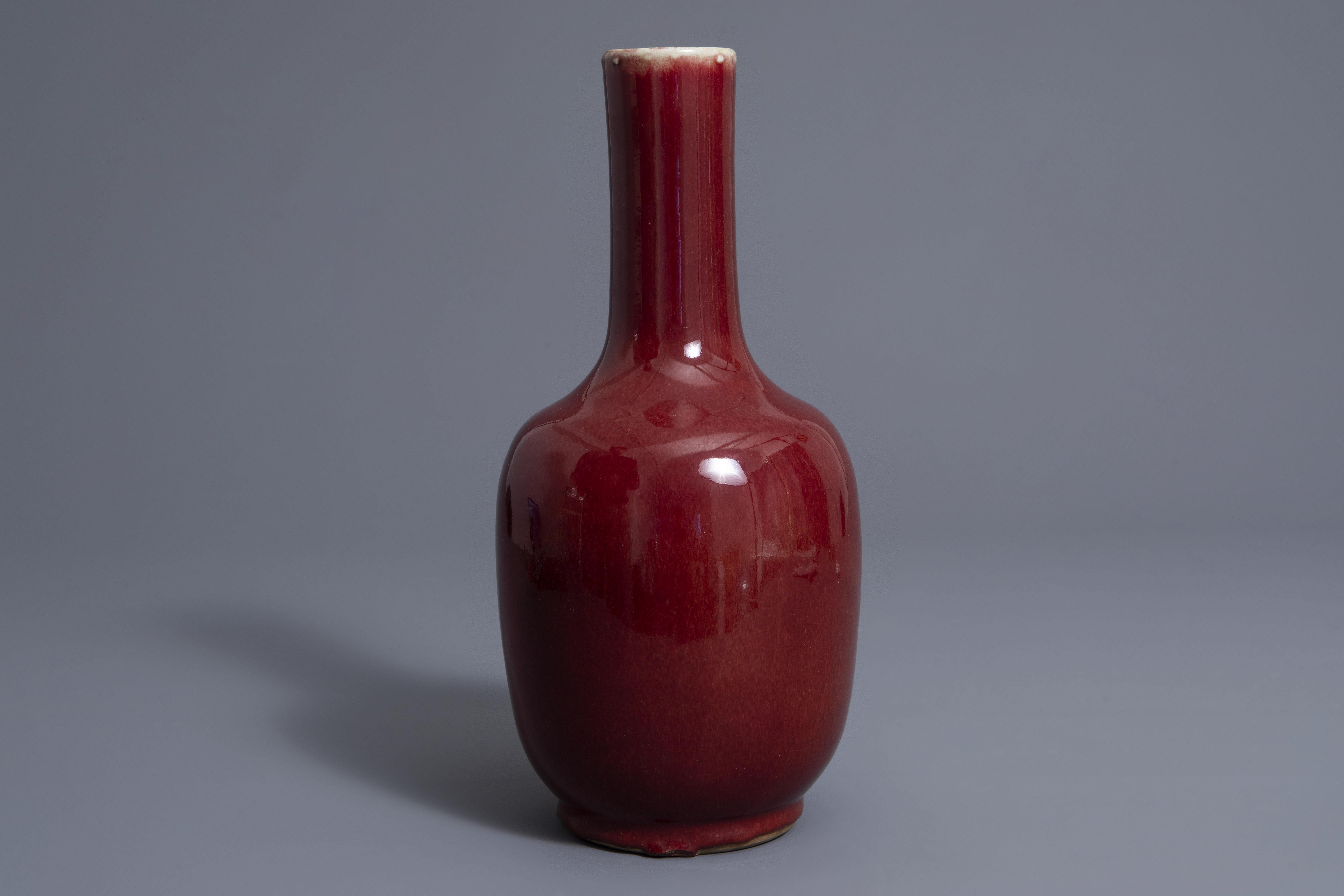 A Chinese sang de boeuf glazed bottle vase, Kangxi mark, 19th C. - Image 3 of 7