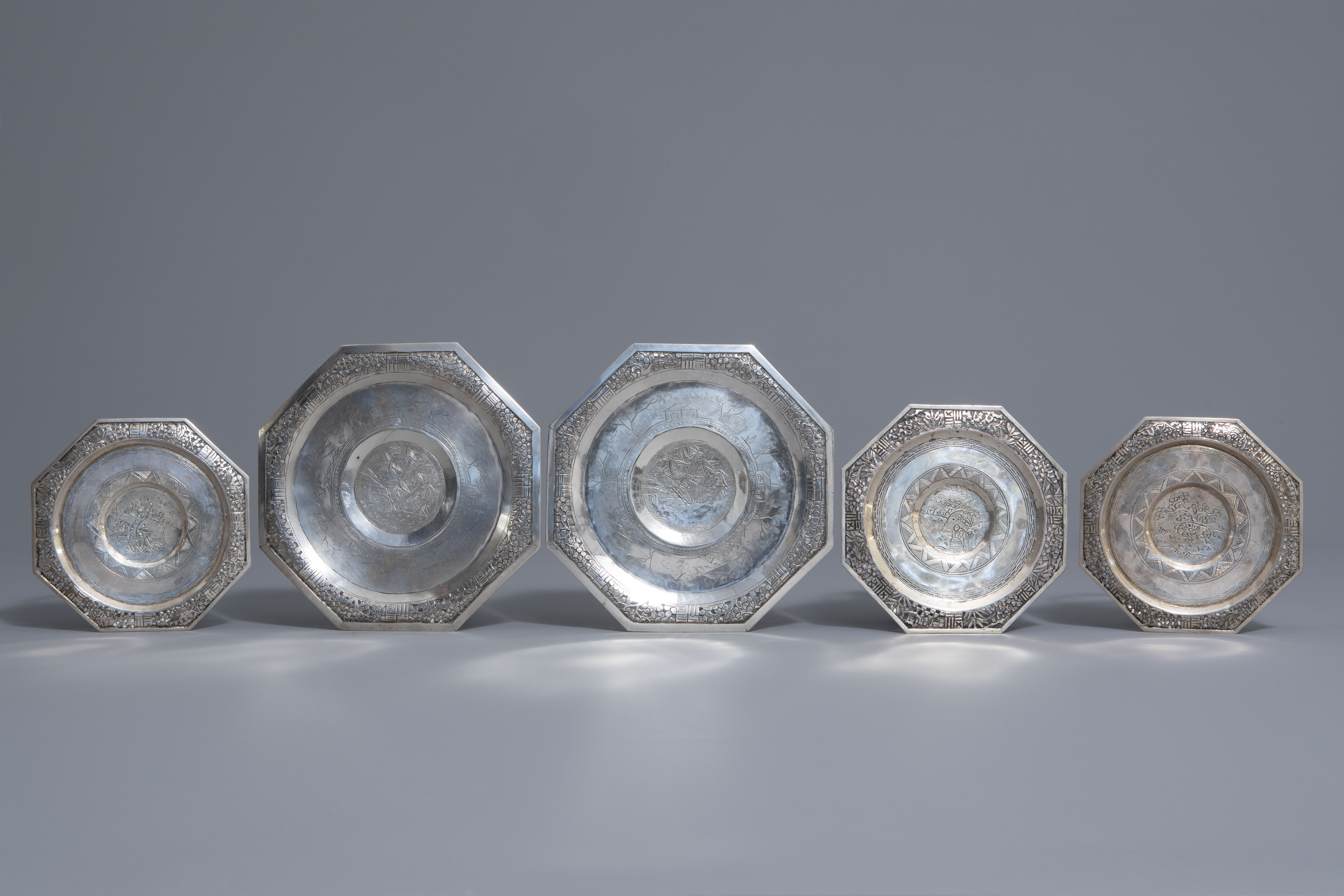 Five Chinese famille rose and silver cups and saucers and a bowl, 19th/20th C. - Image 2 of 17
