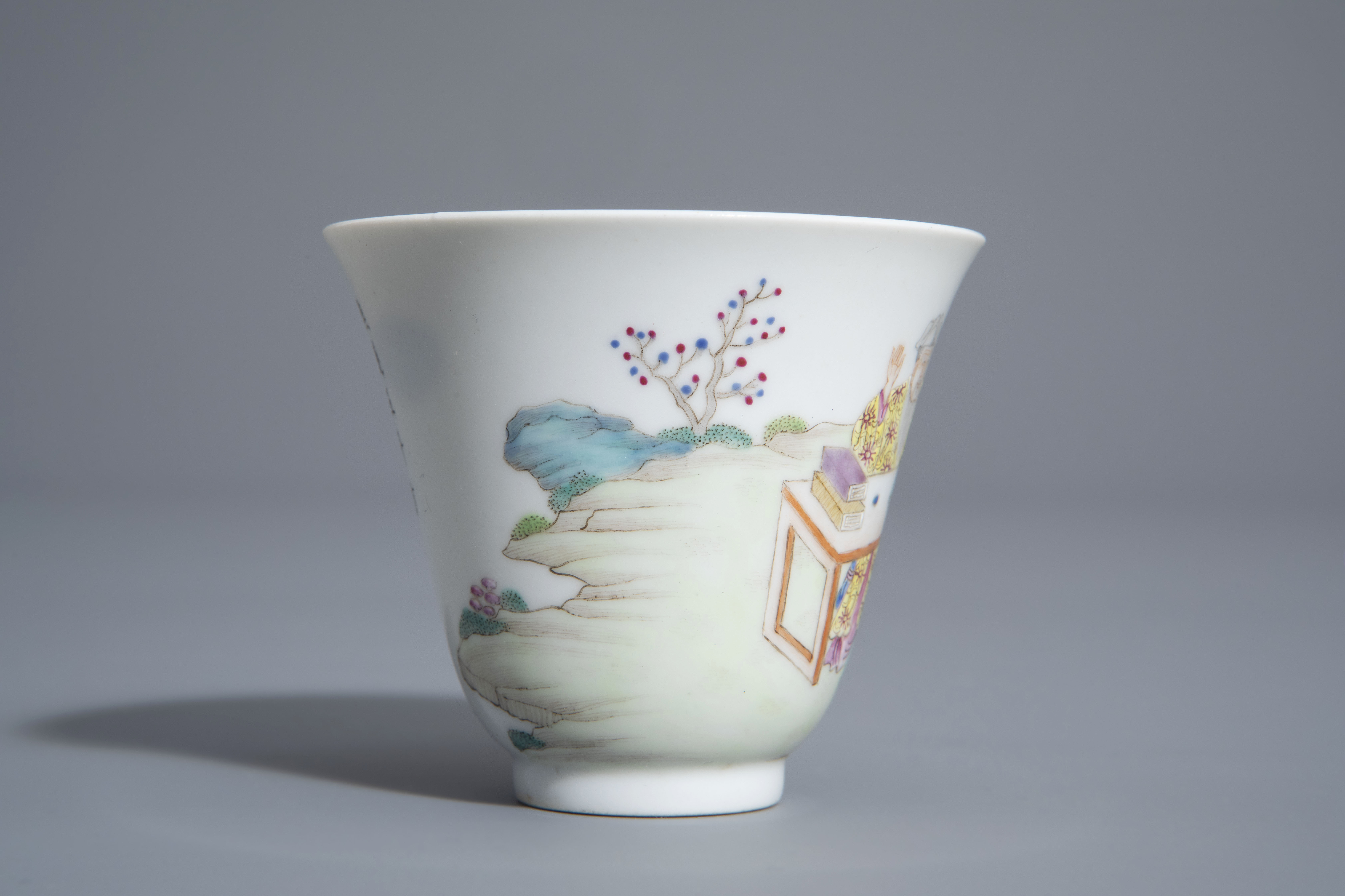 A Chinese famille rose cup and a saucer with different designs, 19th/20th C. - Image 6 of 11