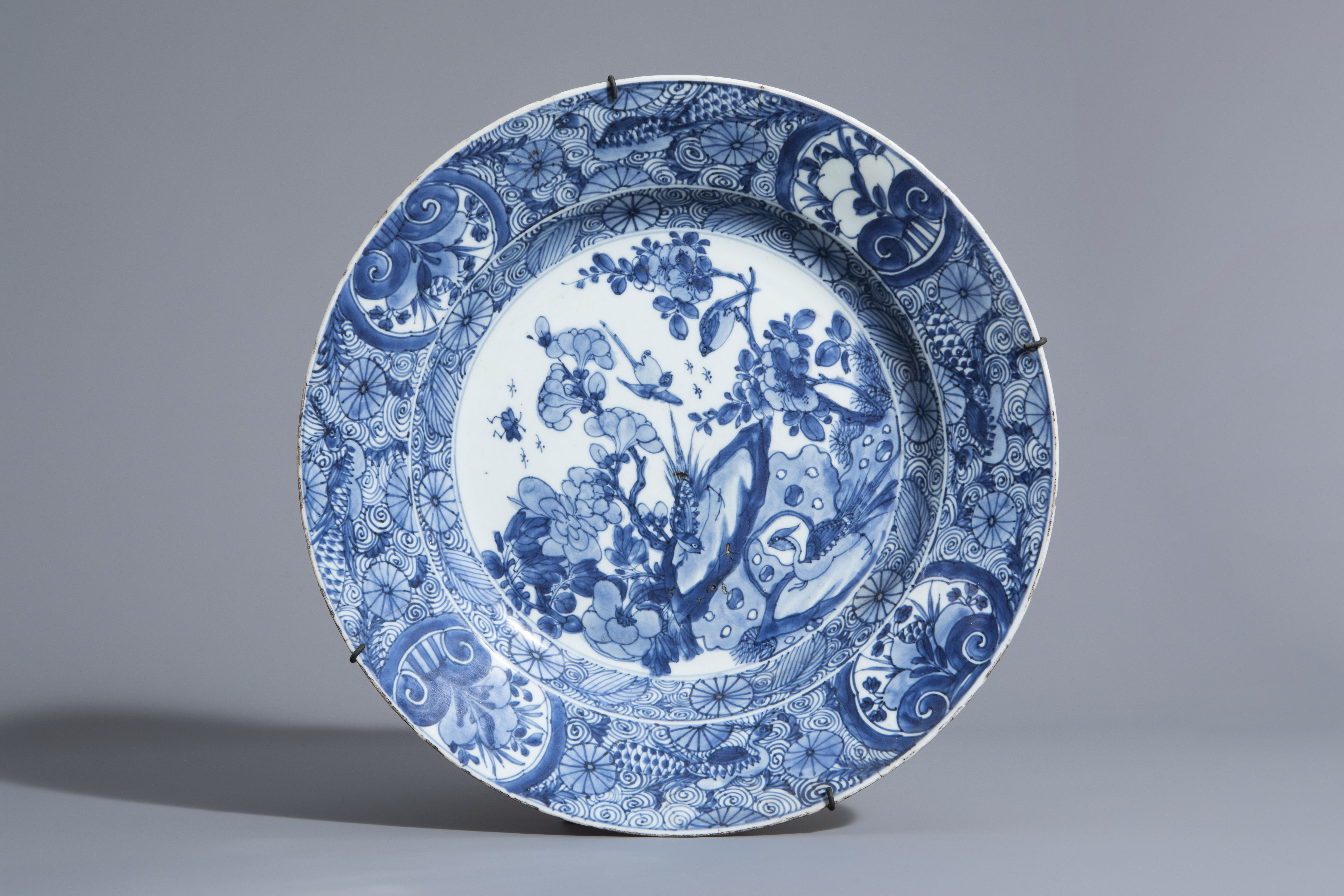 A Chinese blue and white charger and a Peranakan or Straits market night light, Kangxi and 19th C. - Image 2 of 9