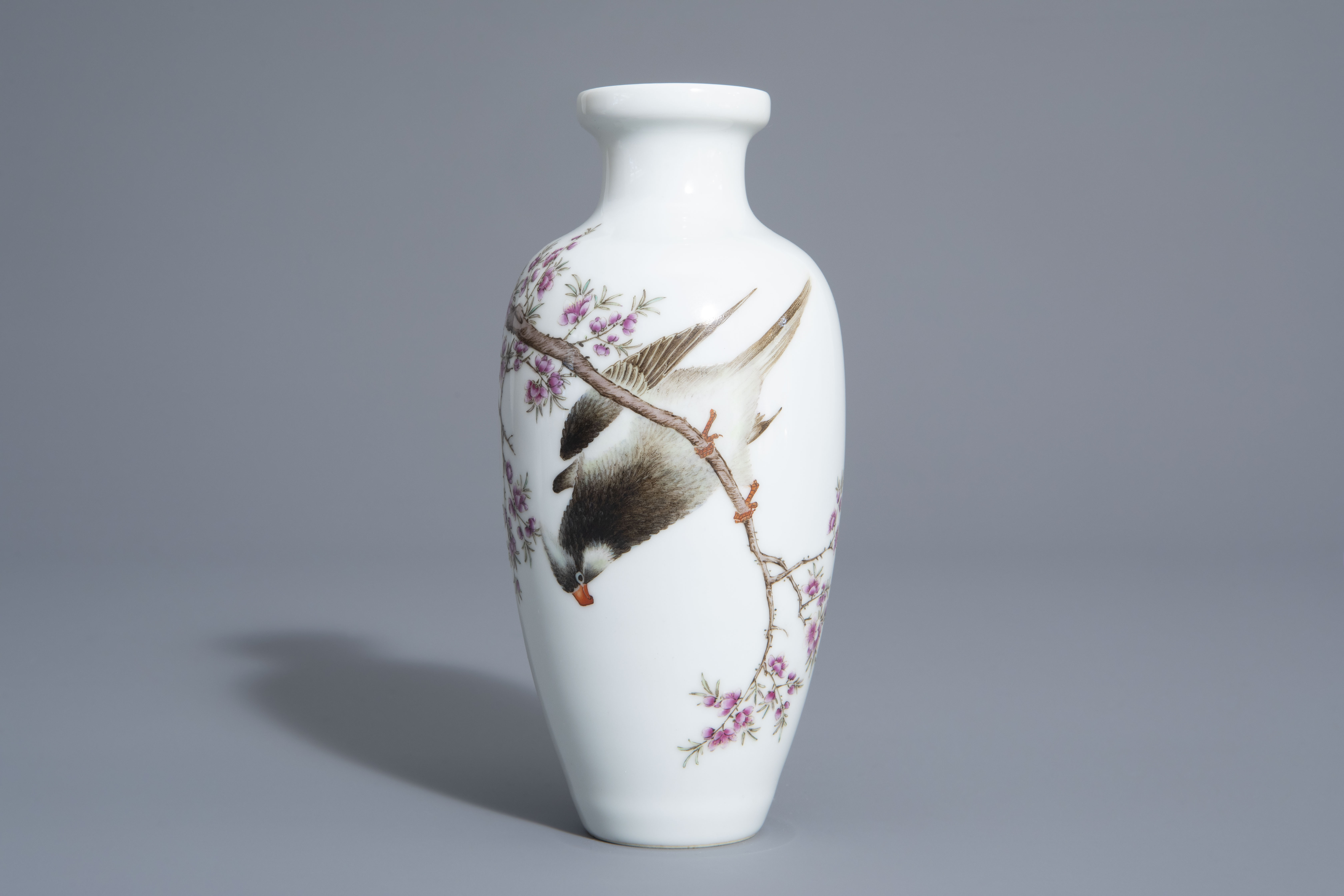 A Chinese famille rose vase with a bird among a flowering branch, 20th C. - Image 2 of 7