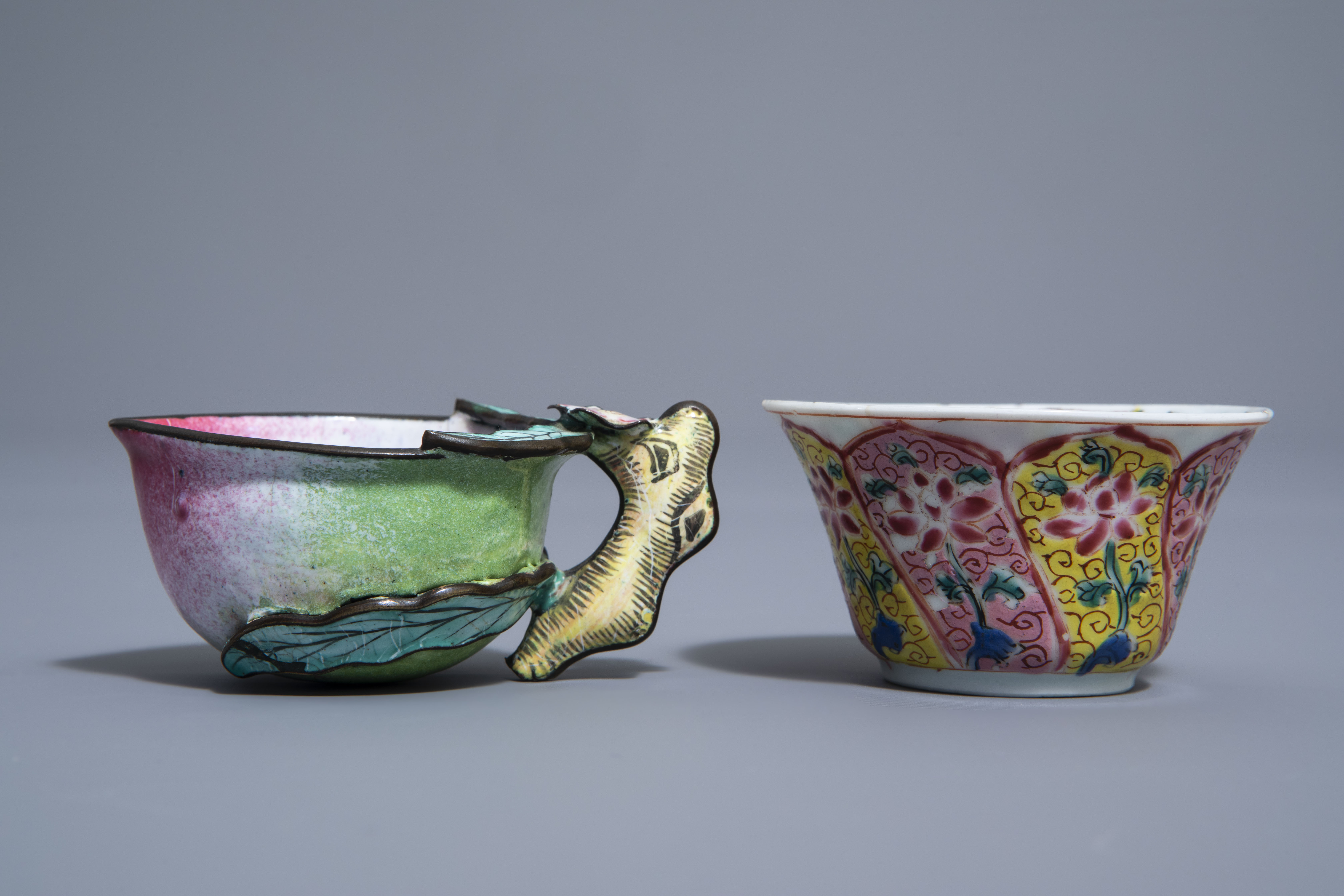 A Chinese famille rose cup and saucer and a Canton enamel peach shaped cup, Yongzheng/Qianlong - Image 6 of 9