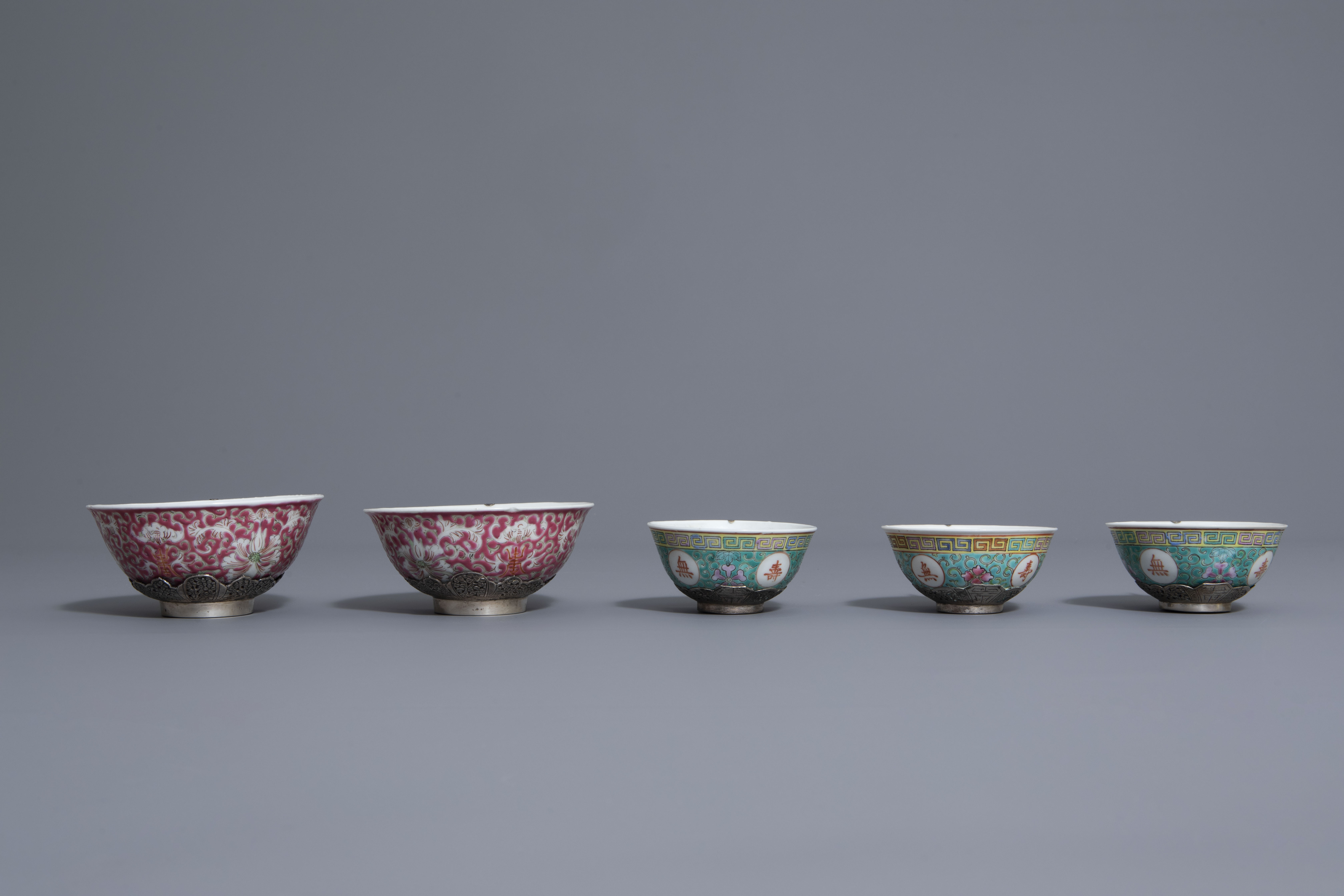 Five Chinese famille rose and silver cups and saucers and a bowl, 19th/20th C. - Image 7 of 17