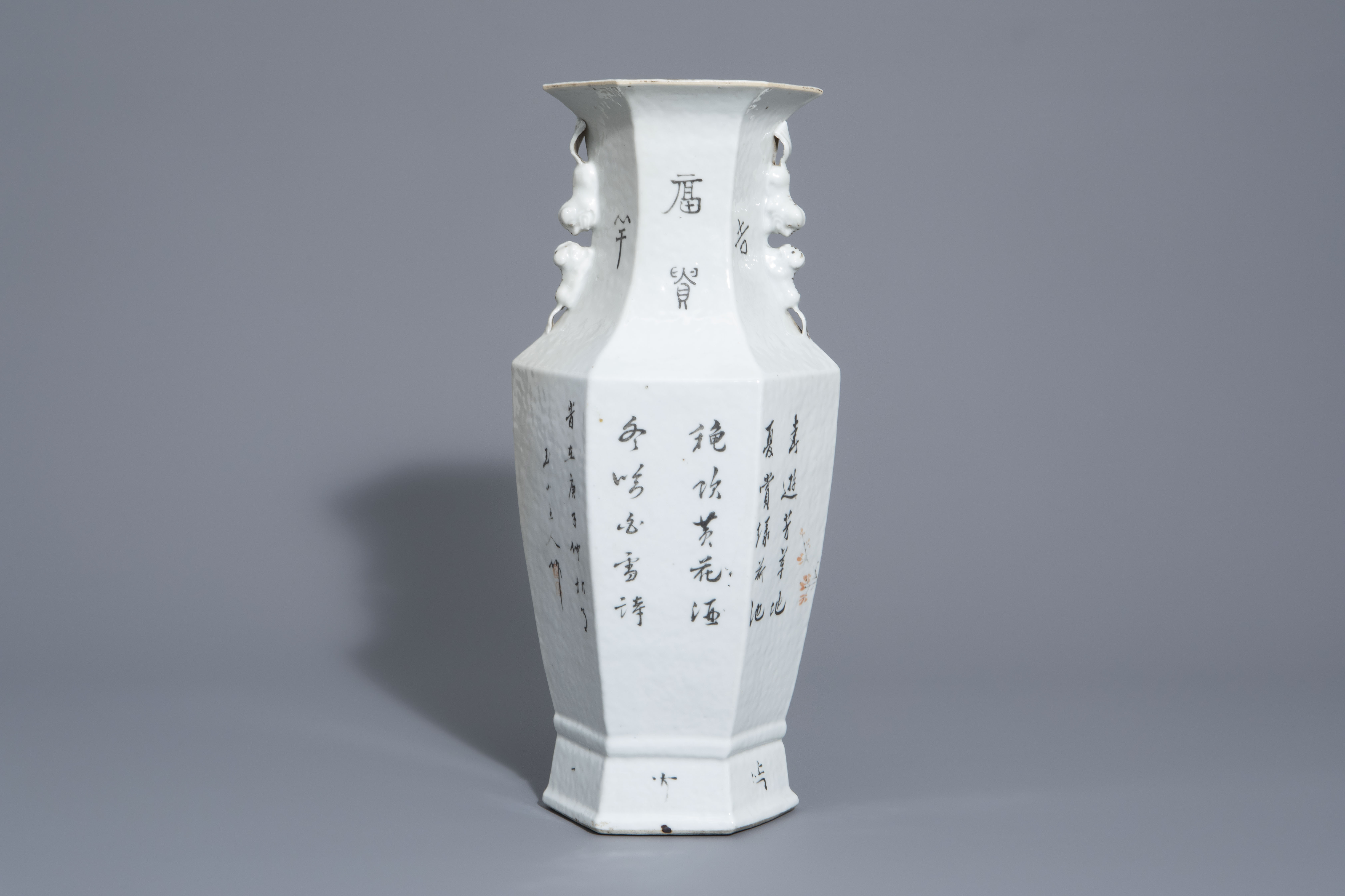 A hexagonal Chinese qianjiang cai vase with a bird among blossoming branches, 19th/20th C. - Image 3 of 6