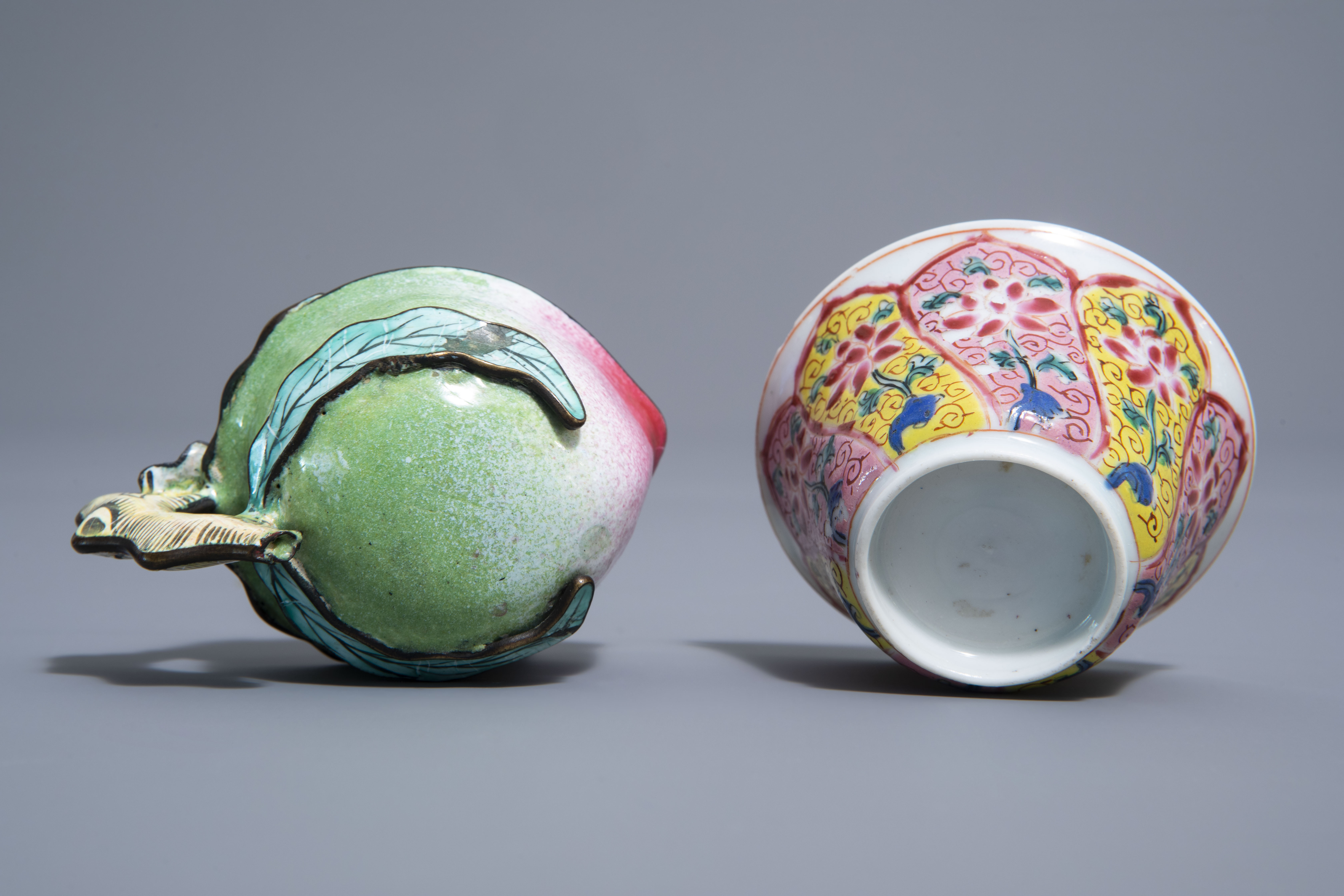 A Chinese famille rose cup and saucer and a Canton enamel peach shaped cup, Yongzheng/Qianlong - Image 9 of 9