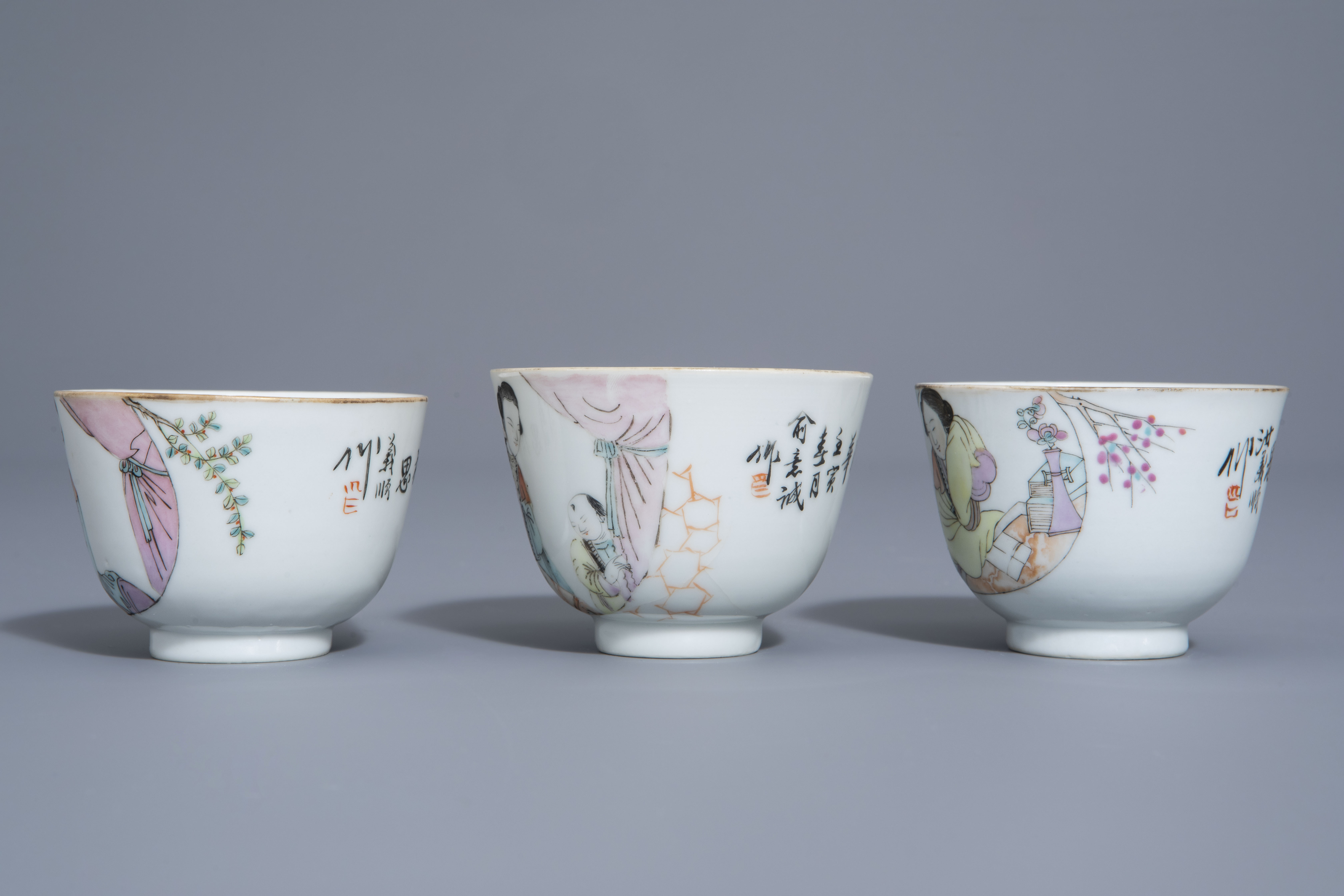 A Chinese seven-piece qianjiang cai tea service with figurative design, 19th/20th C. - Image 17 of 19