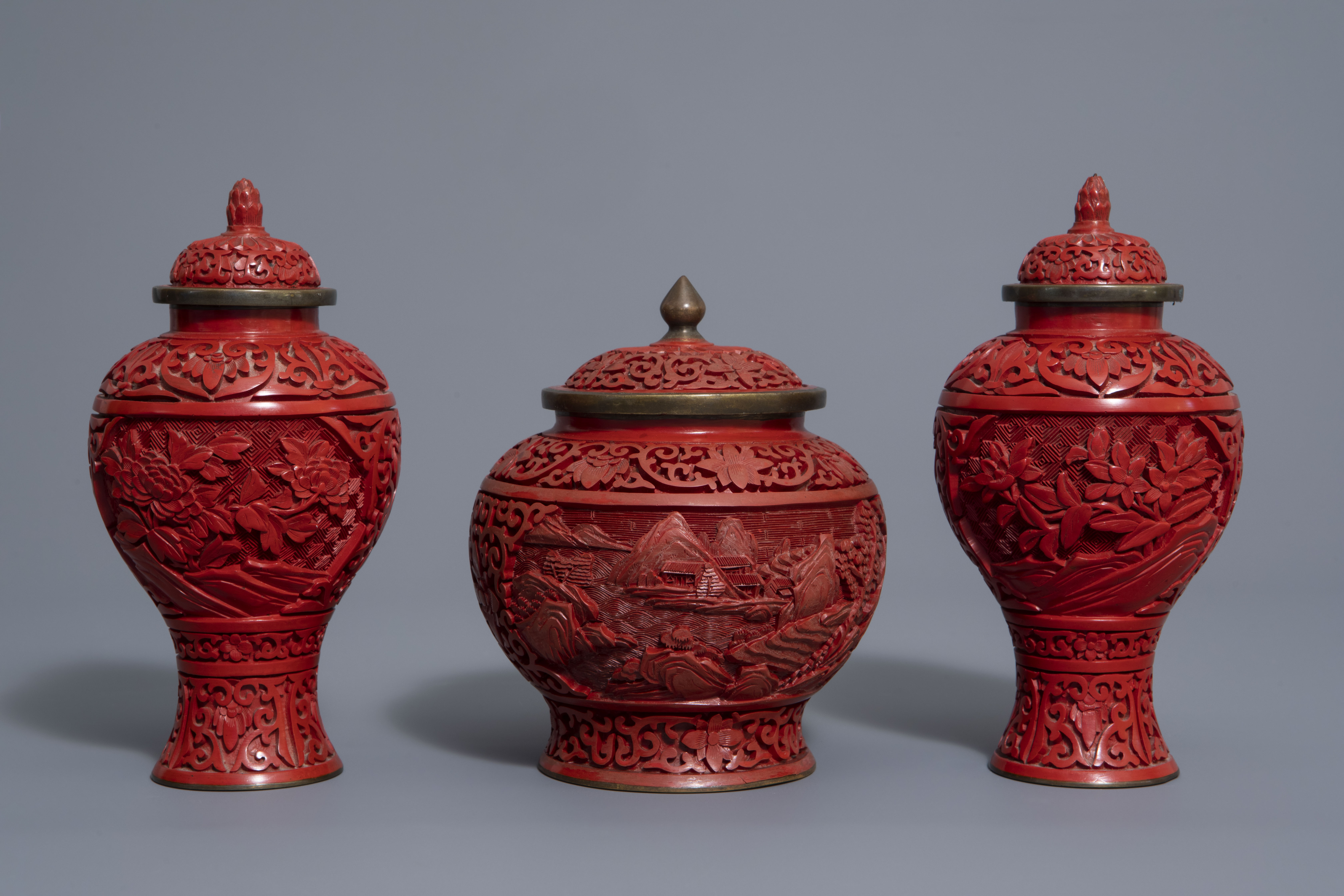 A Chinese tea block, cloisonné teapot, wall vase, bamboo brush pot & 3 red lacquer vases, 20th C. - Image 2 of 16