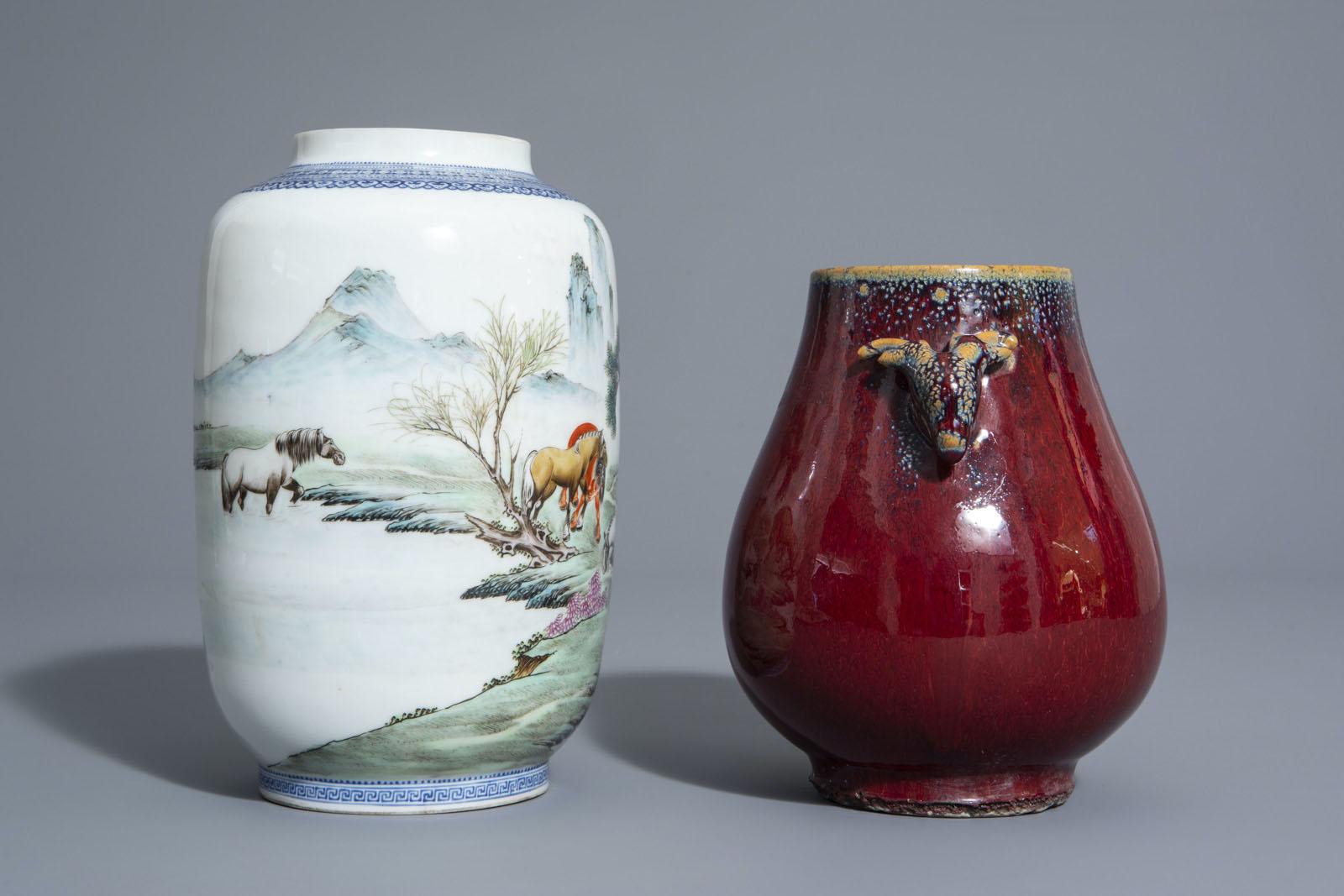A Chinese famille rose eggshell 'Horses of Mu Wang' vase and a flambŽ glazed hu vase, 20th C. - Image 3 of 7