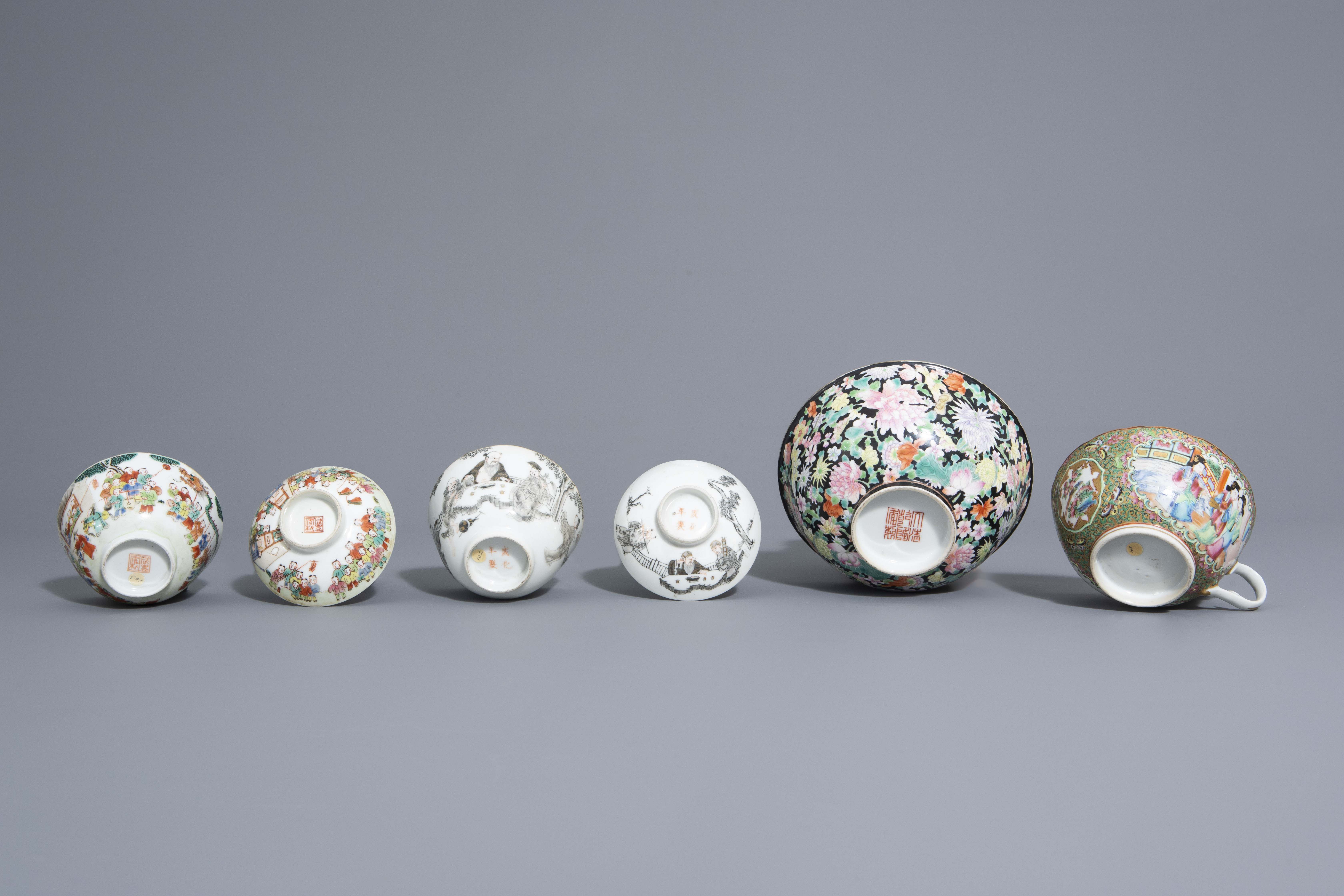 Three Chinese famille rose and grisaille bowls and a Canton bowl on stand, 19th/20th C. - Image 7 of 9