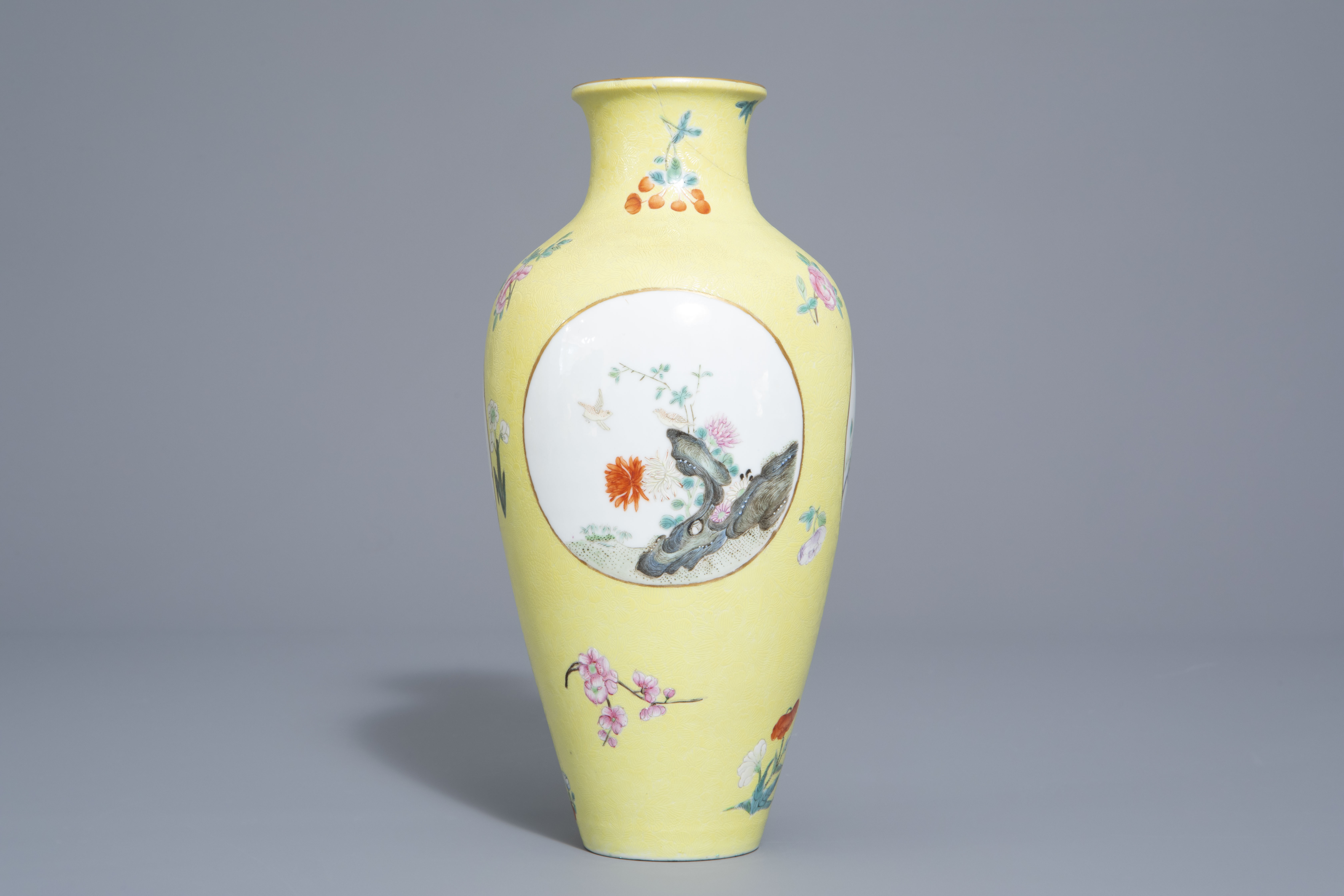A pair of Chinese famille rose plates and a yellow ground sgraffito vase, Jurentang mark, Republic - Image 6 of 9