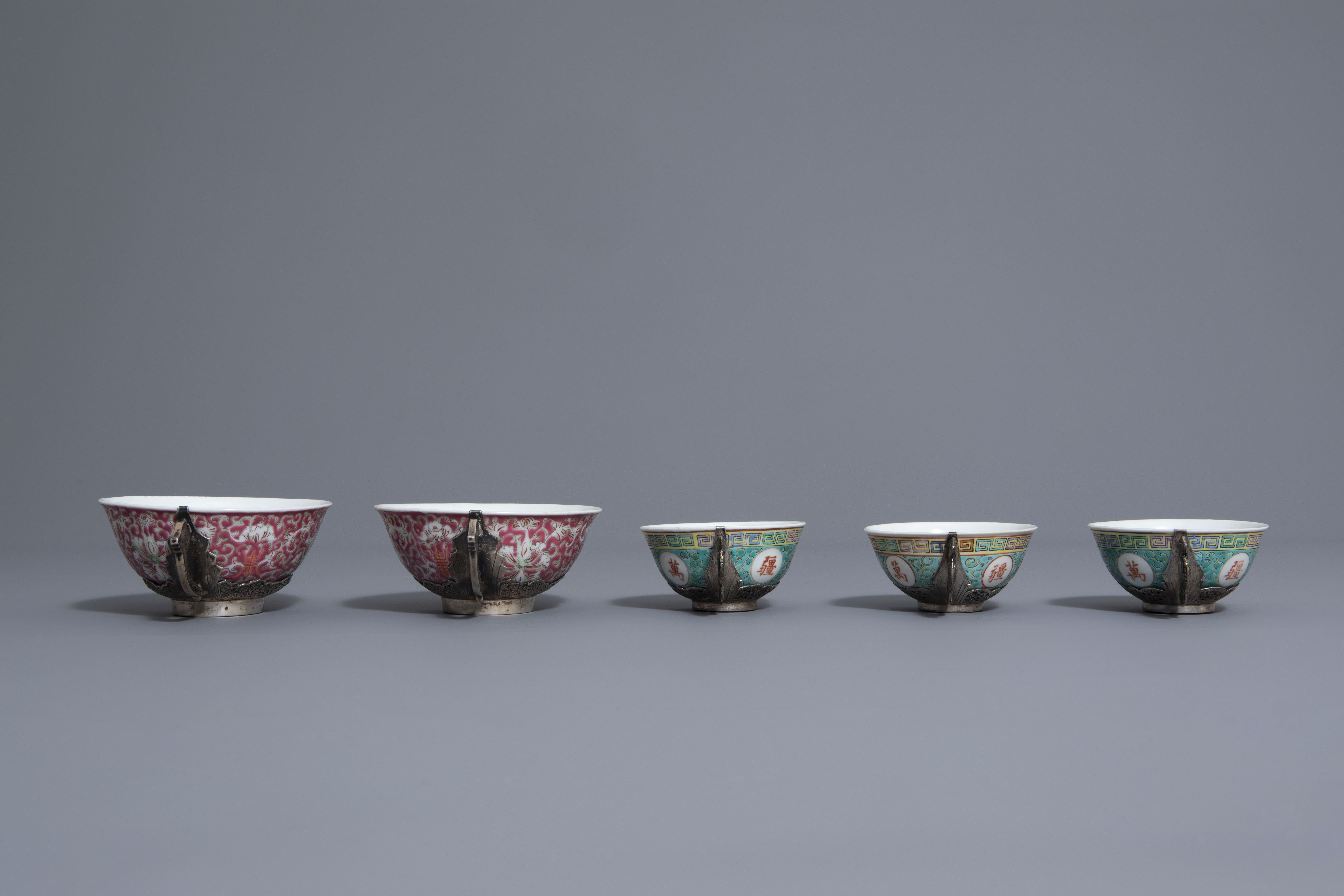 Five Chinese famille rose and silver cups and saucers and a bowl, 19th/20th C. - Image 5 of 17