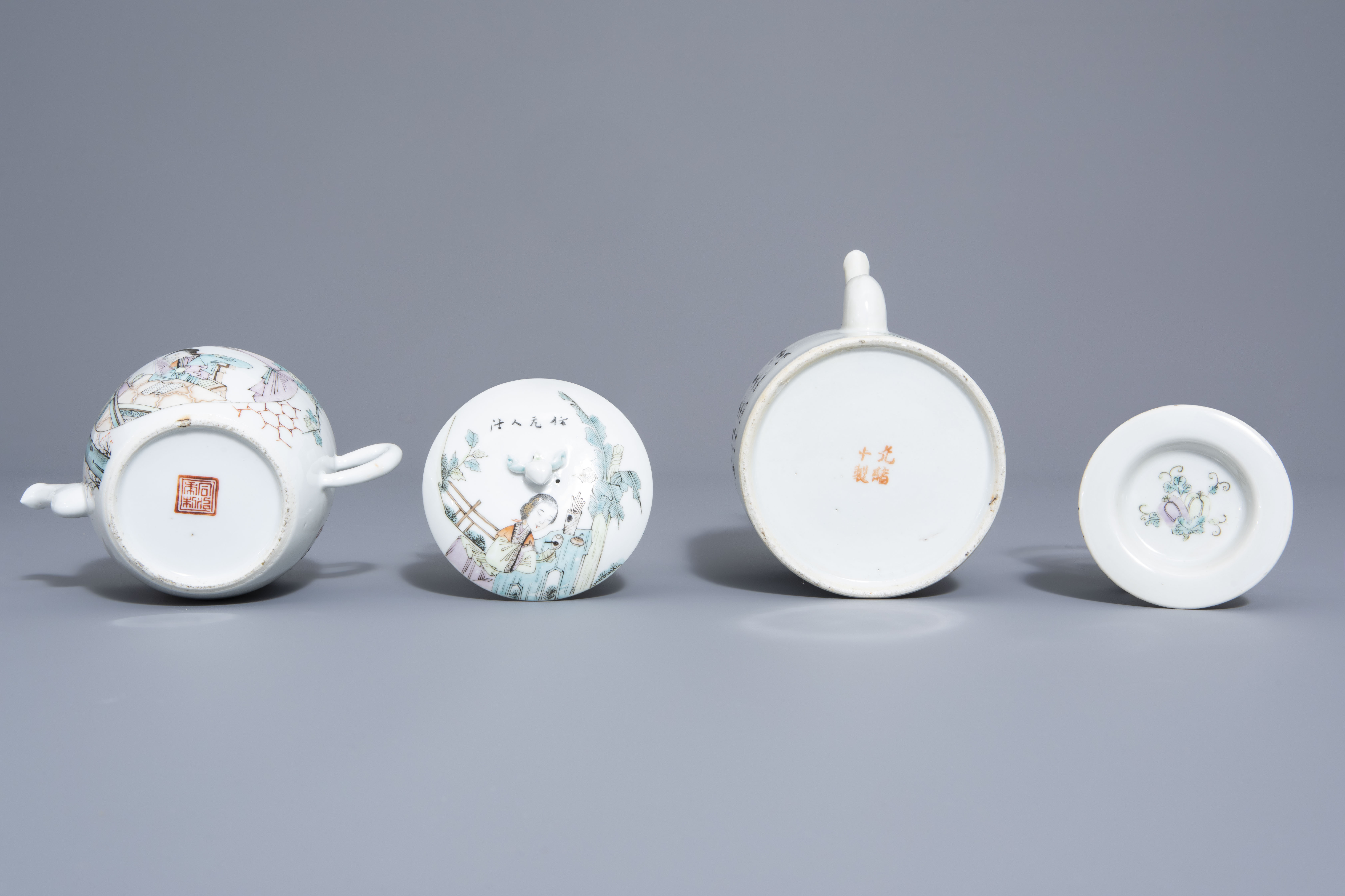 A Chinese seven-piece qianjiang cai tea service with figurative design, 19th/20th C. - Image 7 of 19