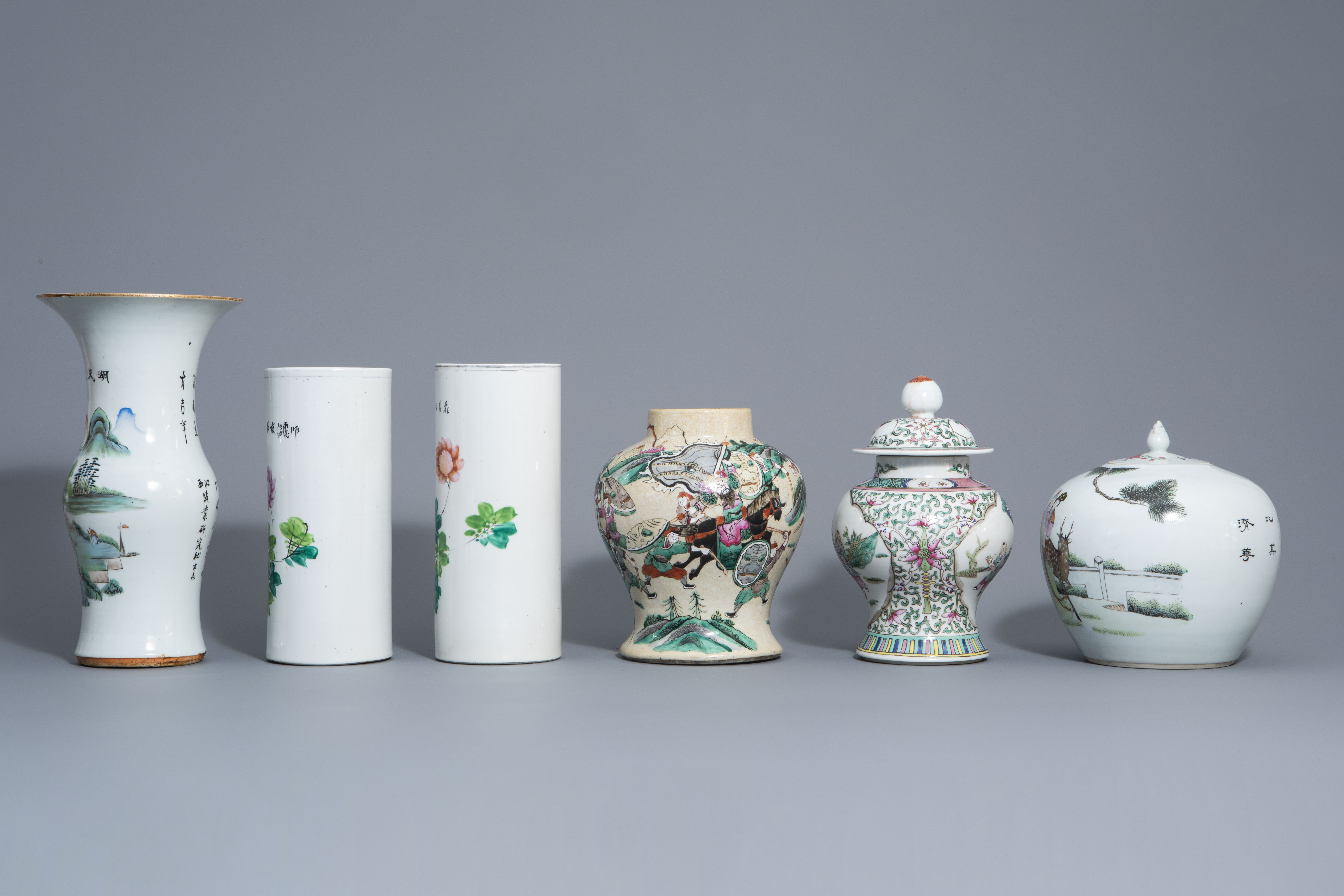 Six Chinese qianjiang cai and famille rose vases, 19th/20th C. - Image 5 of 8