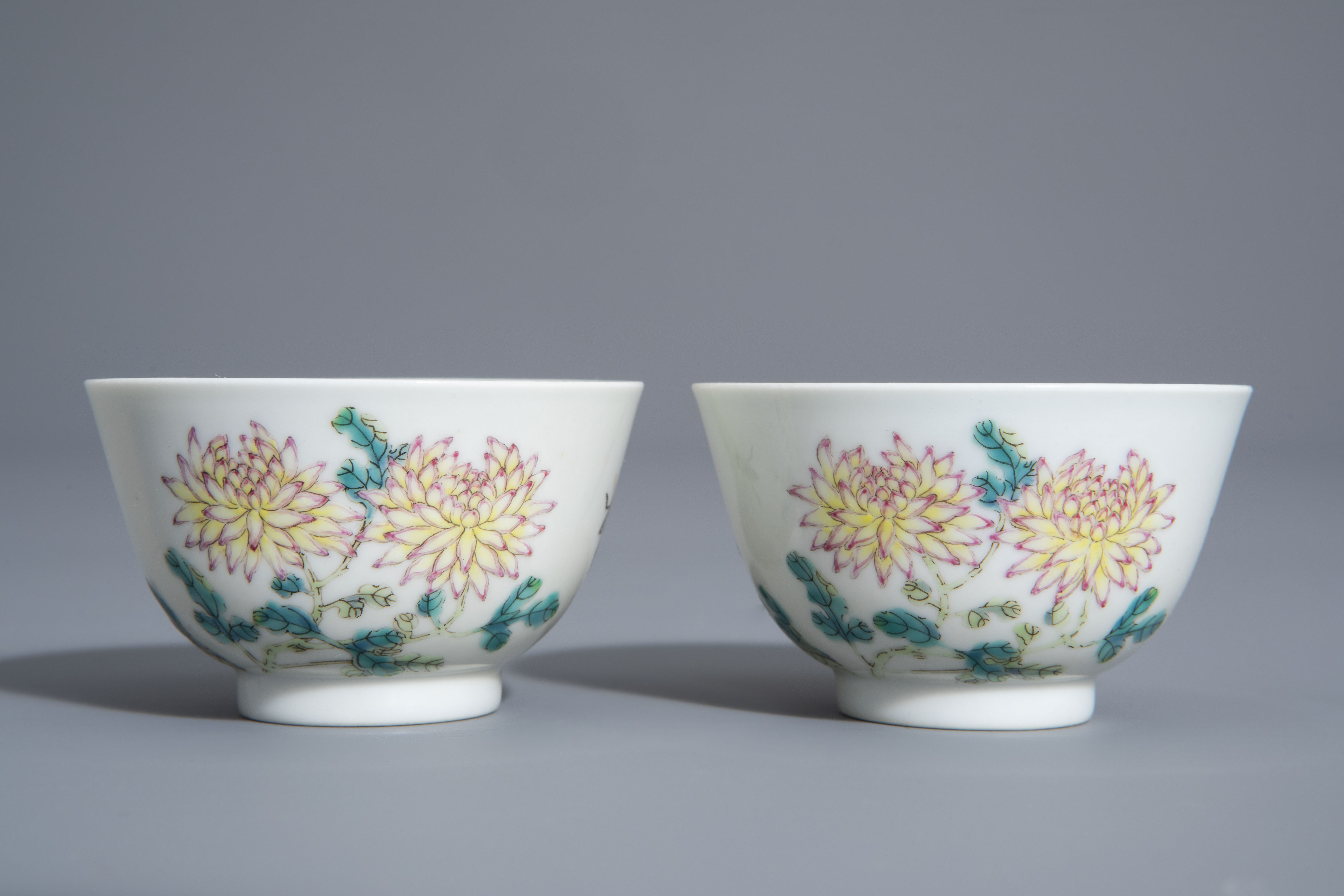 A pair of Chinese famille rose 'floral' cups, Guangxu mark, 19th/20th C. - Image 2 of 8
