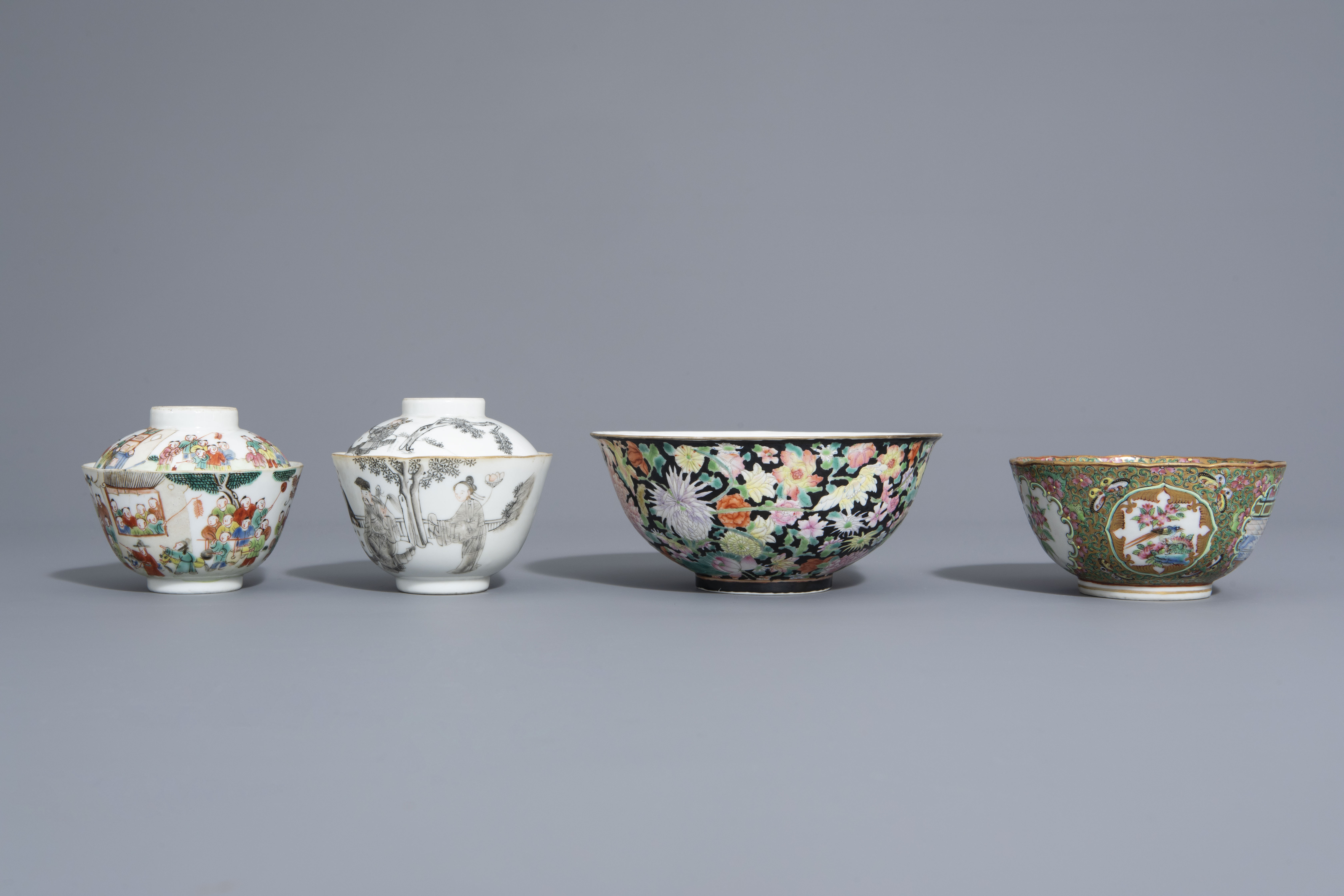 Three Chinese famille rose and grisaille bowls and a Canton bowl on stand, 19th/20th C. - Image 5 of 9