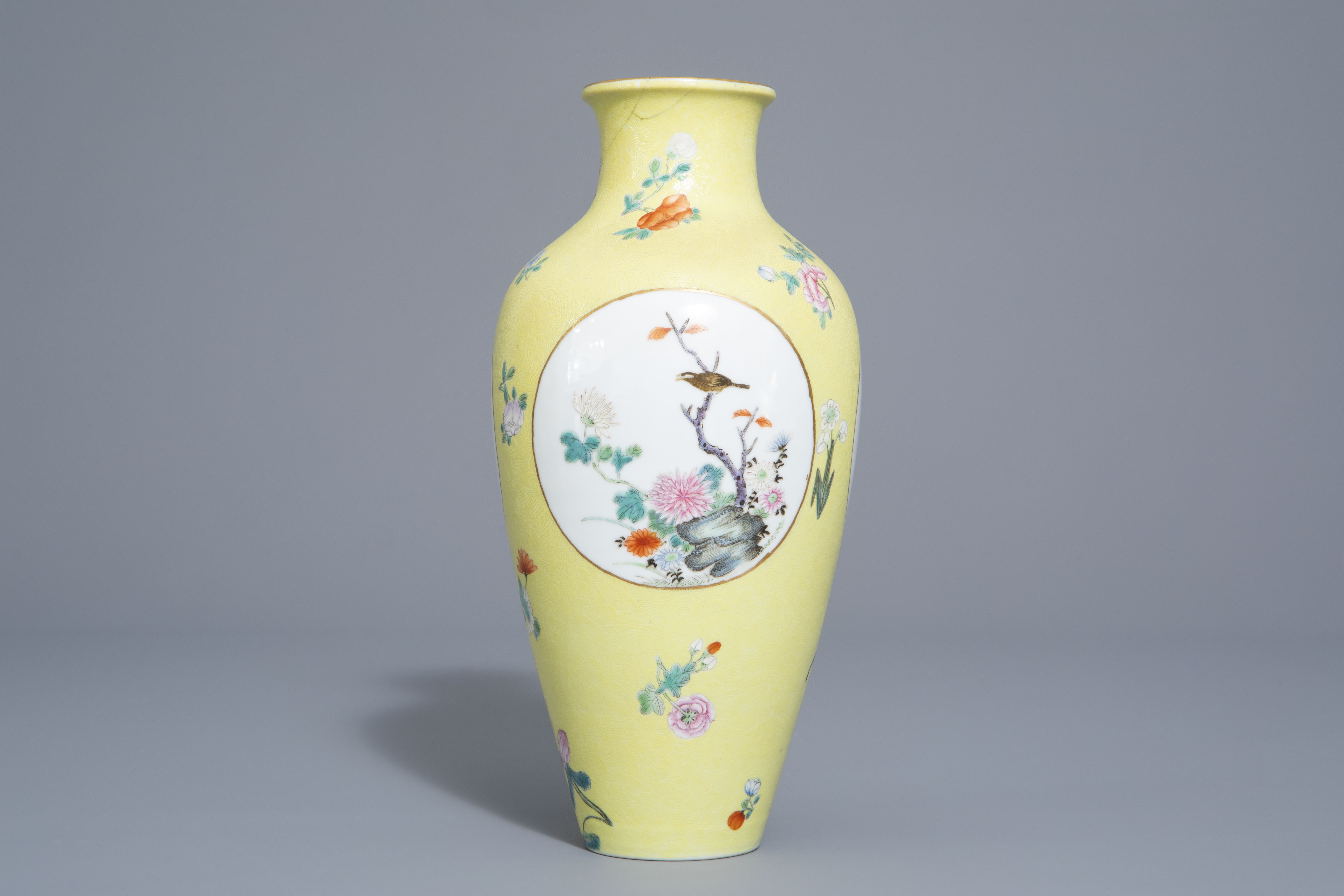 A pair of Chinese famille rose plates and a yellow ground sgraffito vase, Jurentang mark, Republic - Image 4 of 9