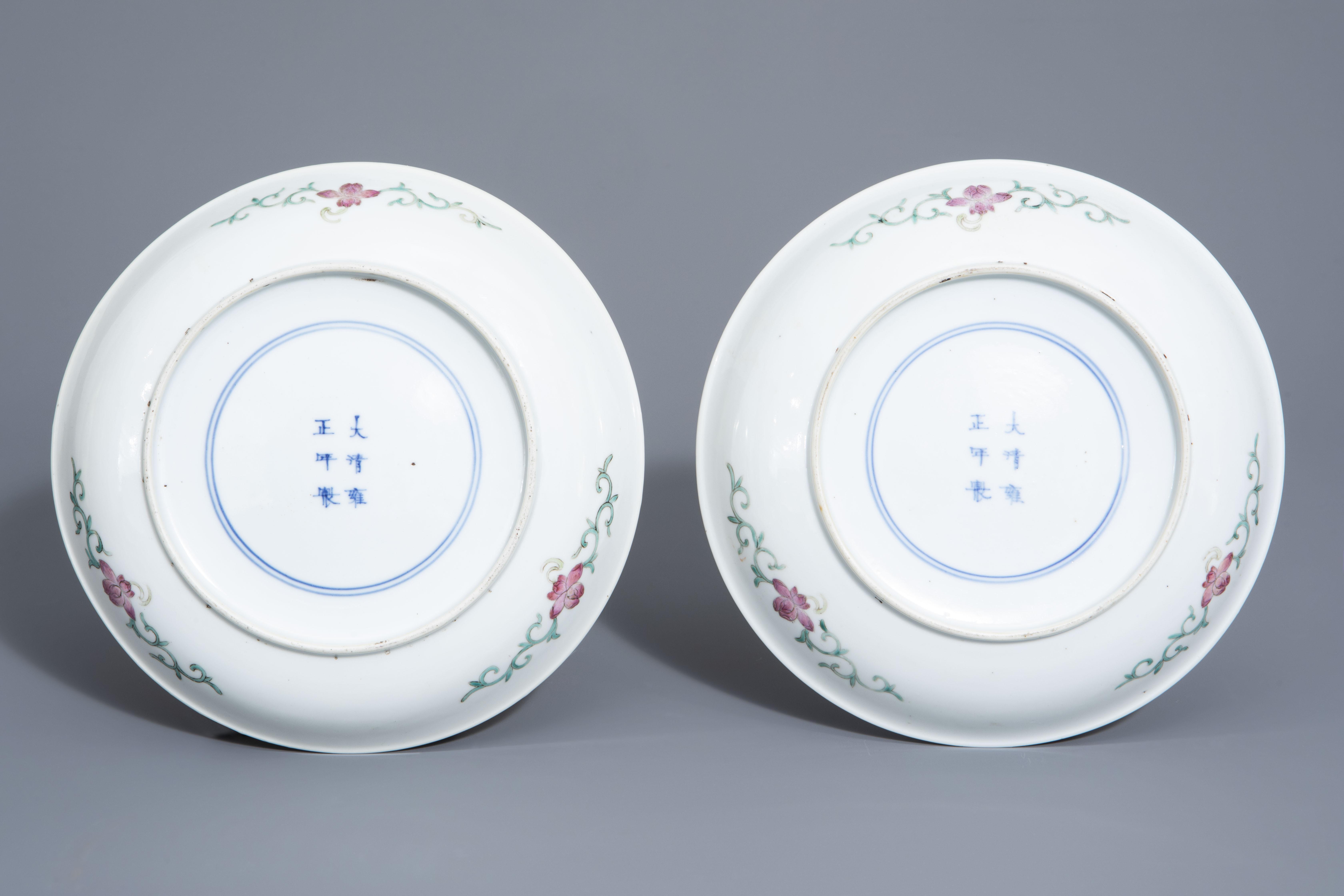 A pair of Chinese famille rose plates and a yellow ground sgraffito vase, Jurentang mark, Republic - Image 3 of 9