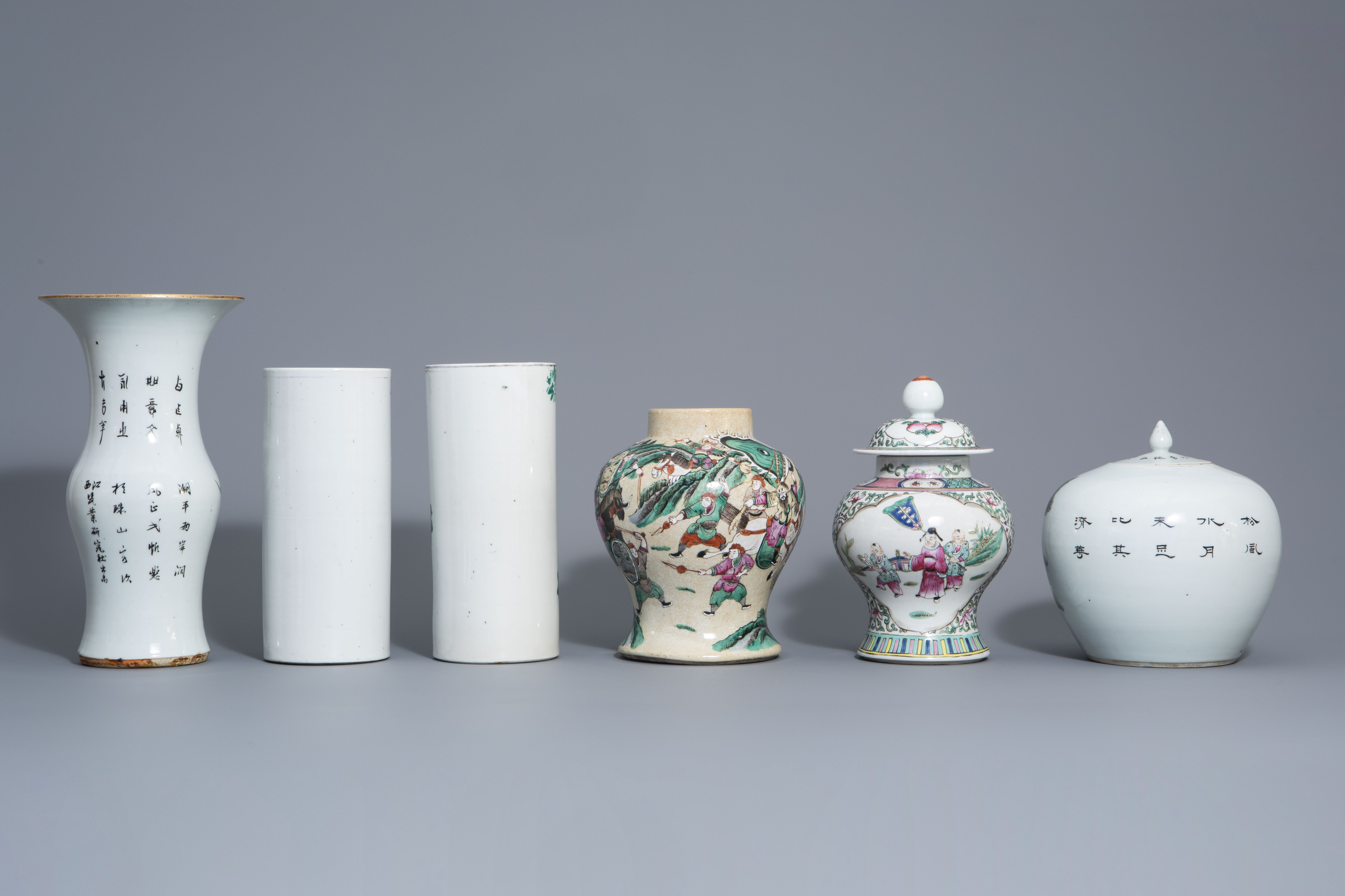 Six Chinese qianjiang cai and famille rose vases, 19th/20th C. - Image 4 of 8