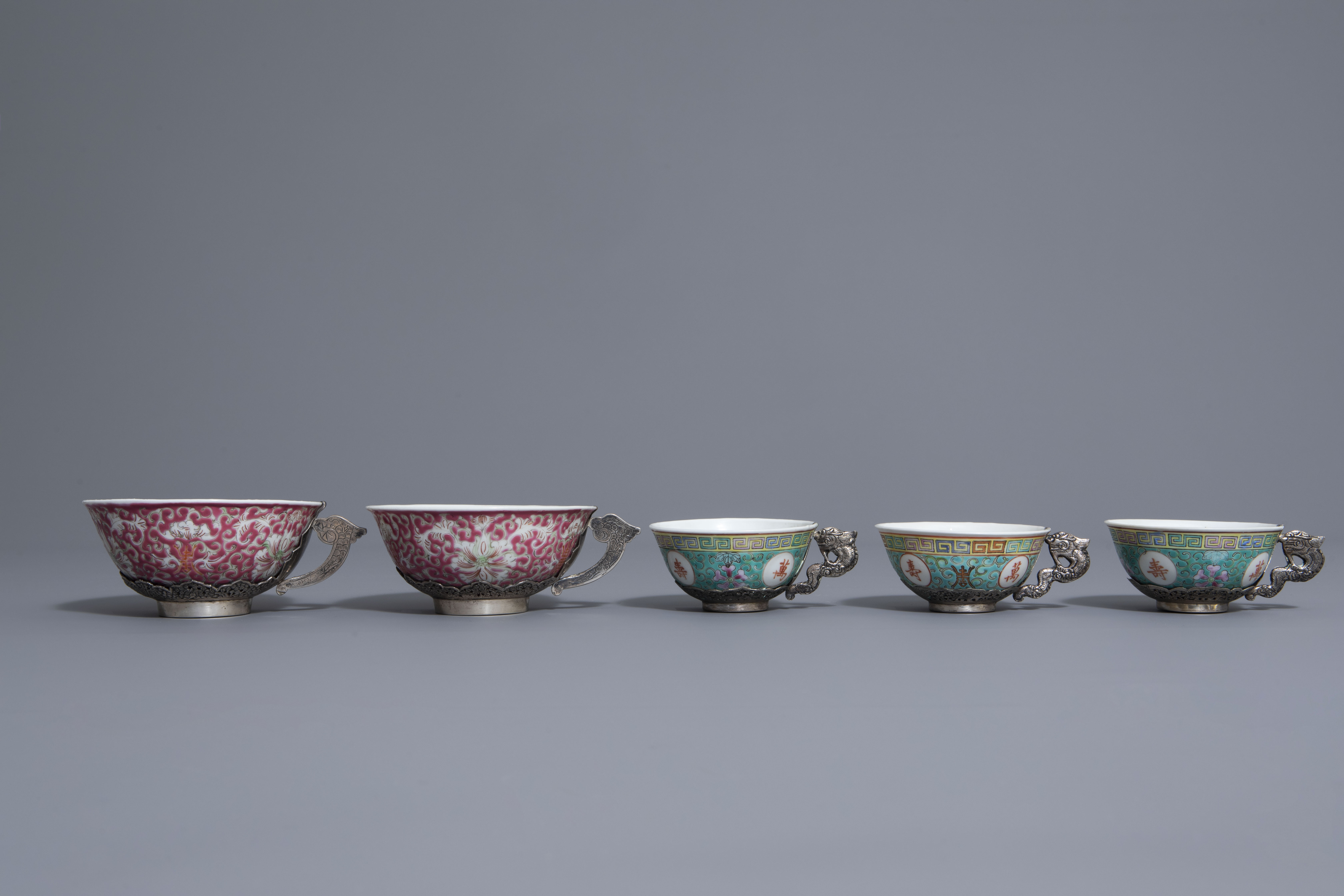 Five Chinese famille rose and silver cups and saucers and a bowl, 19th/20th C. - Image 6 of 17