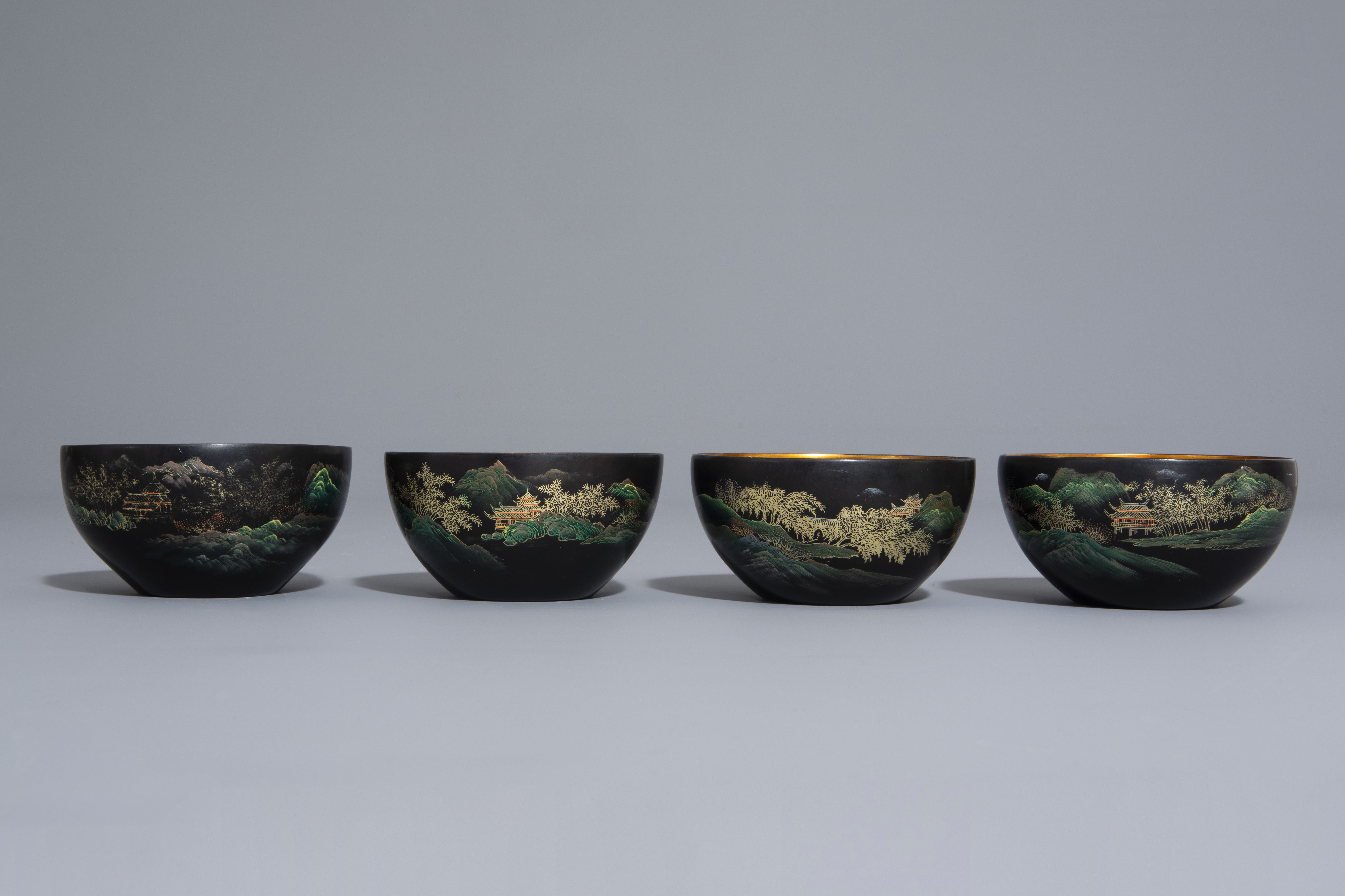 An extensive Chinese Foochow lacquer Shen Shao'an style coffee and tea service, 20th C. - Image 8 of 23