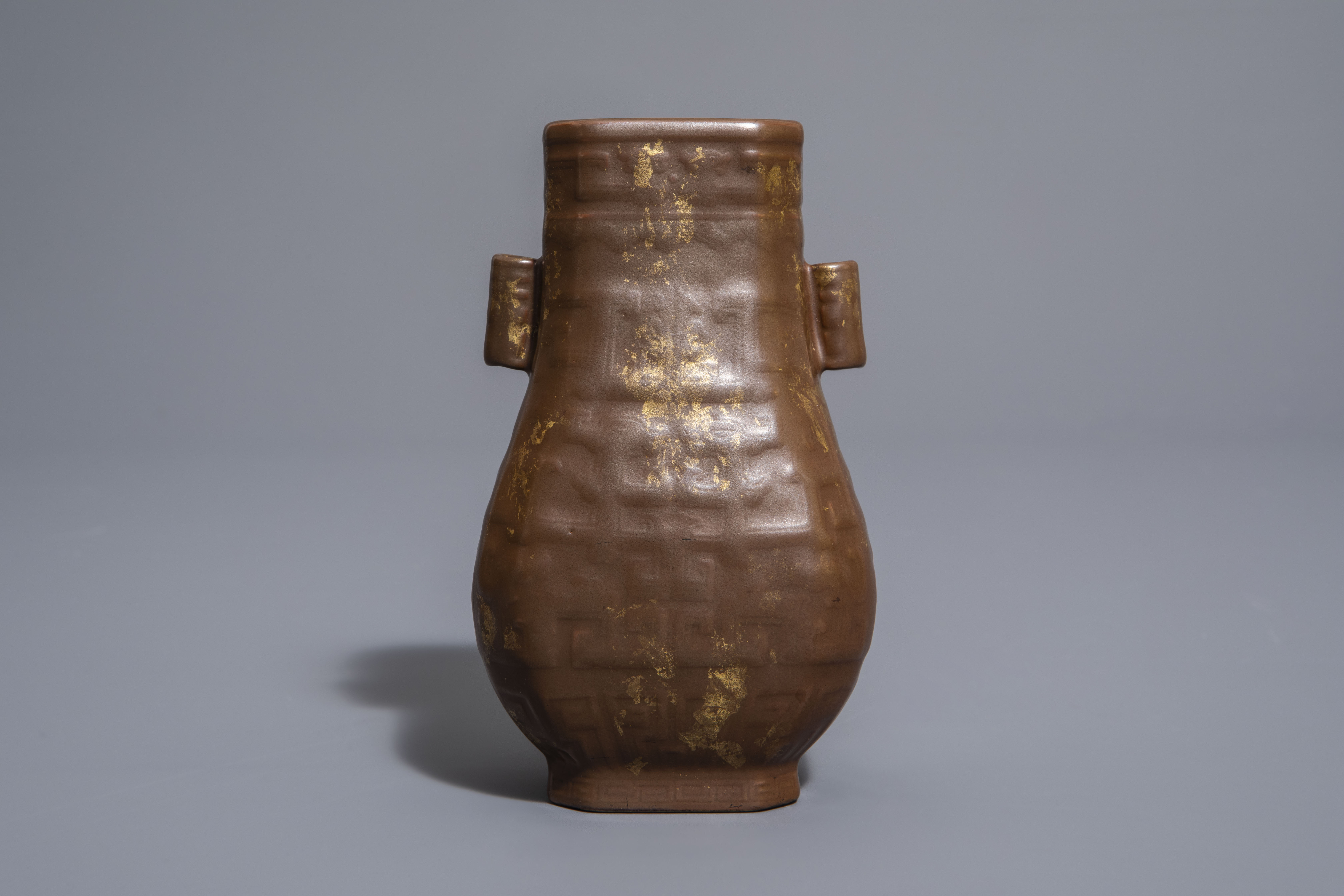 A Chinese porcelain faux-gilt-splashed-bronze vase, Qianlong mark, 19th/20th C. - Image 3 of 9