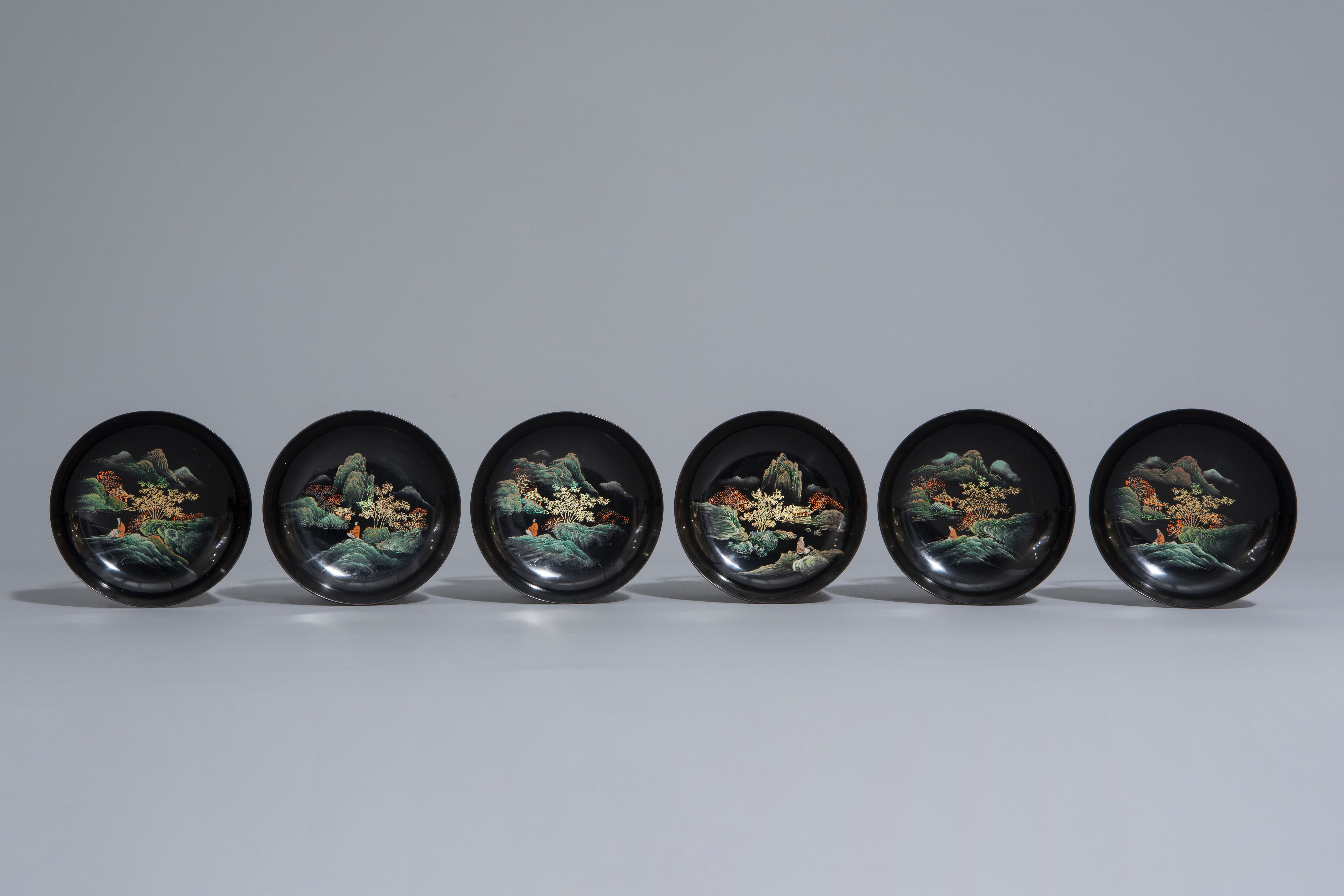 An extensive Chinese Foochow lacquer Shen Shao'an style coffee and tea service, 20th C. - Image 14 of 23