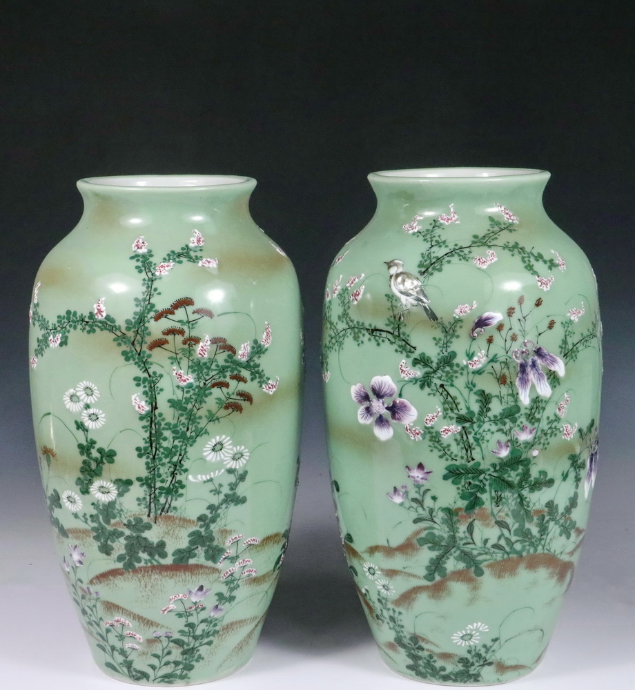 Pair of japanese vases ovoid baluster vases in celadon with lot 1448 pair of japanese vases ovoid baluster vases in celadon with hand reviewsmspy