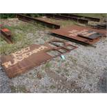 (LOT) MISC. STEEL PLATE ON GROUND W/ MISC. SCRAP STEEL AT END OF ROW (BLACK PAINT)