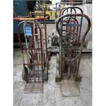 (LOT) TWO-WHEEL SOLID TIRE HAND TRUCKS