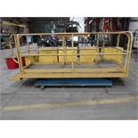 "PENTALIFT ELECTRIC SCISSOR LIFT TABLE W/ MOUNTED 36"" X 120"" PLATFORM & 42"" HIGH SAFETY RAILING"