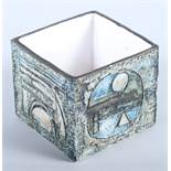 """A 20th century Troika studio pottery cube vase with blue and green geometric decoration, 3 1/2"""" high"""