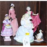 """Three Royal Doulton figures, """"Maureen"""", """"Greta"""" HN1888, and """"Delight"""" HN1772, together with a"""