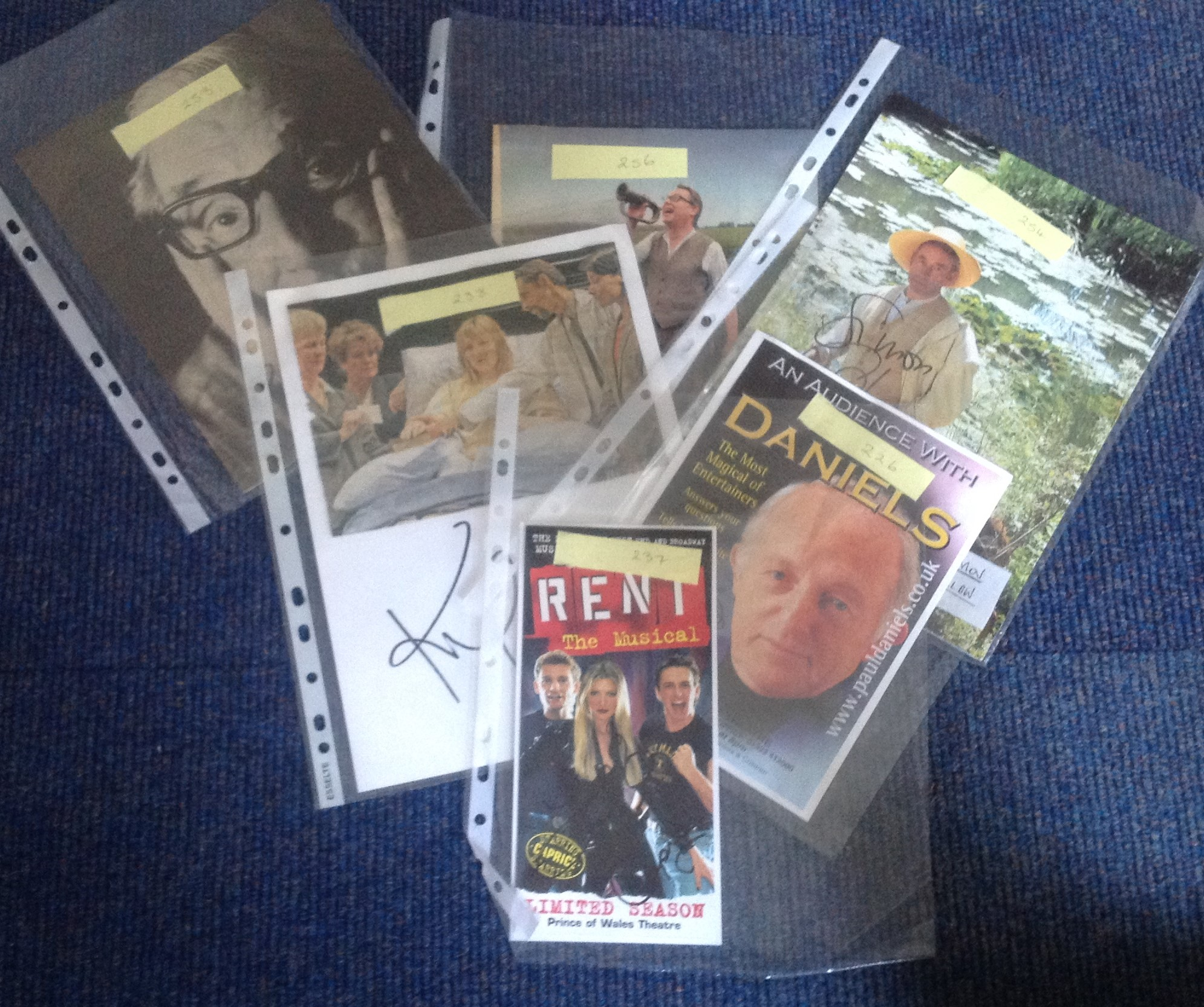 Lot 7 - TV signed collection. 6 items. Assortment of newspaper photos and flyers. Some of signatures