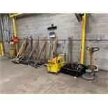 (LOT) BROOMS, MOP BUCKETS, DUST PANS AND CLARKE FLOOR BUFFER