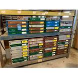 (LOT) LARGE QUANTITY PULL OUT DRAWER HARDWARE CABINETS WITH MISCELLANEOUS HARDWARE **NO RACK - STAYS