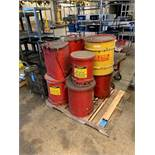SKID MISCELLANEOUS OILY WASTE CANS