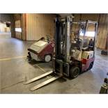 3,000 LB. NISSAN MODEL CPH01A15PB LP GAS SOLID TIRE TWO STAGE MAST LIFT TRUCK; S/N N/A, 7,055
