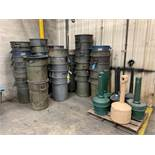 (LOT) RUBBERMAID PLASTIC TRASH CANS WITH CIGARETTE DISPOSAL STANDS