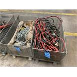 (LOT) BATTERY CABLES AND CHAINS WITH (2) WIRE BASKETS