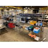 (LOT) MISCELLANEOUS OFFICE SUPPLIES AND EQUIPMENT WITH (4) SECTIONS MISCELLANEOUS SIZE MULTI-LEVEL