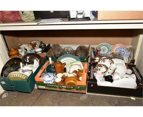 SIX BOXES OF CERAMICS AND GLASS etc to include Hornsea 'Saffron' teapot, coffee pot, cups, saucers, plates, Denby Greenwheat