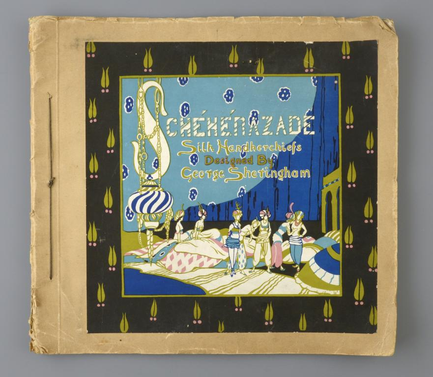 SCHEHERAZADE. A RARE ALBUM OF THIRTEEN [OF SIXTEEN] SILK HANDKERCHIEFS DESIGNED BY GEORGE SHERINGHAM
