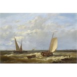Lot 912 - ABRAHAM HULK THE ELDER (1813-1897) A FRESH BREEZE; SUNSET ON THE ZUIDER ZEE a pair, both signed, oil